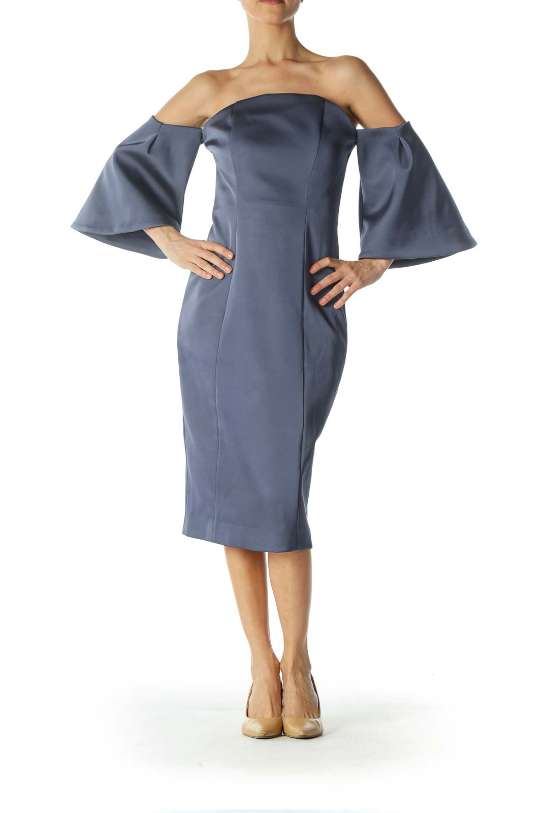 Blue Cold-Shoulder Flared-Sleeves Evening Dress Front