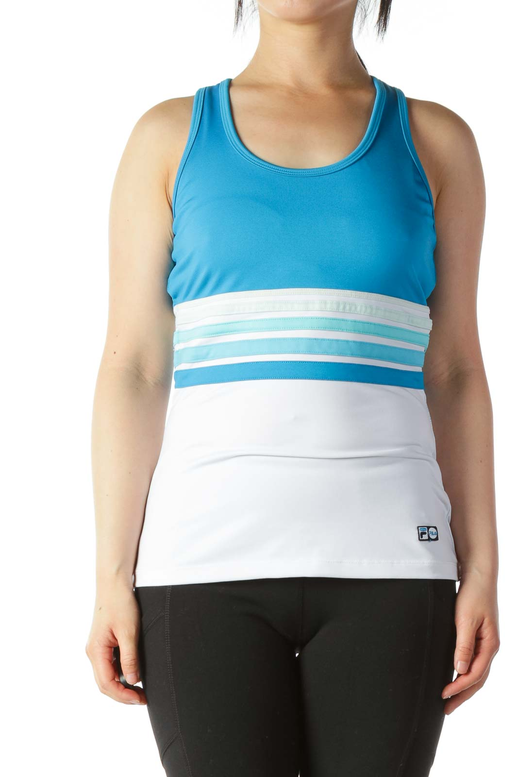 Light-Blue White Racerback Sports Tank with Build-In Bra Front