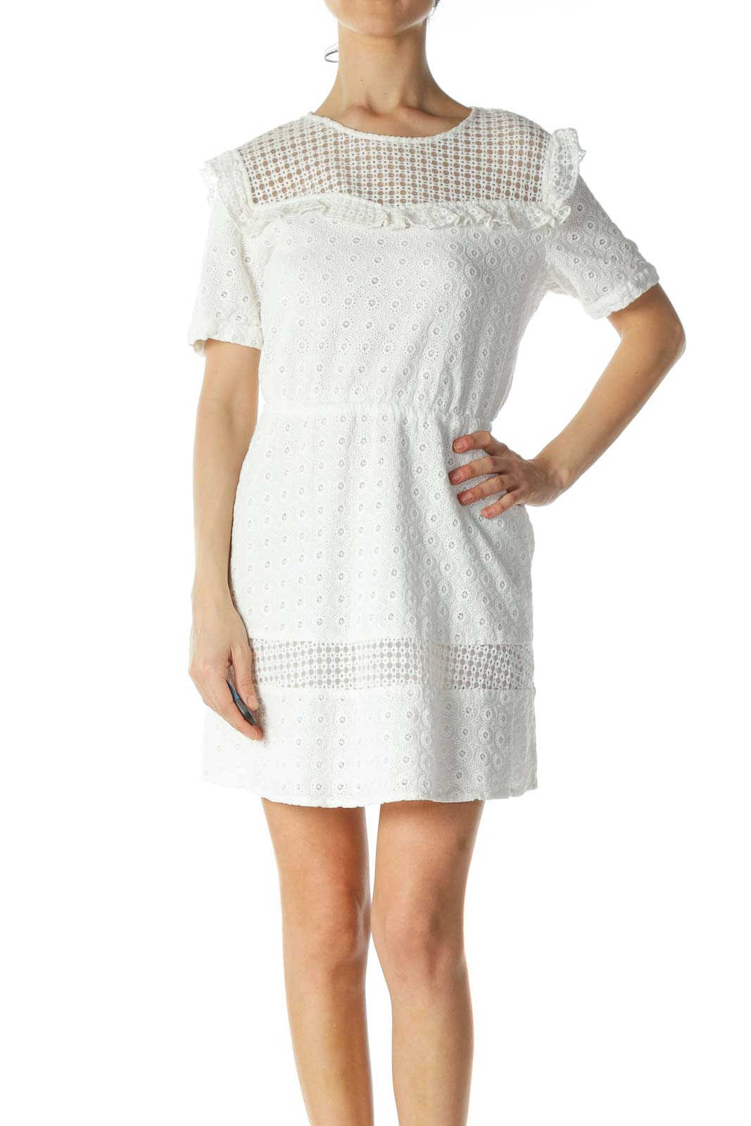 Off-White 100% Cotton Lace-Body Day Dress Front