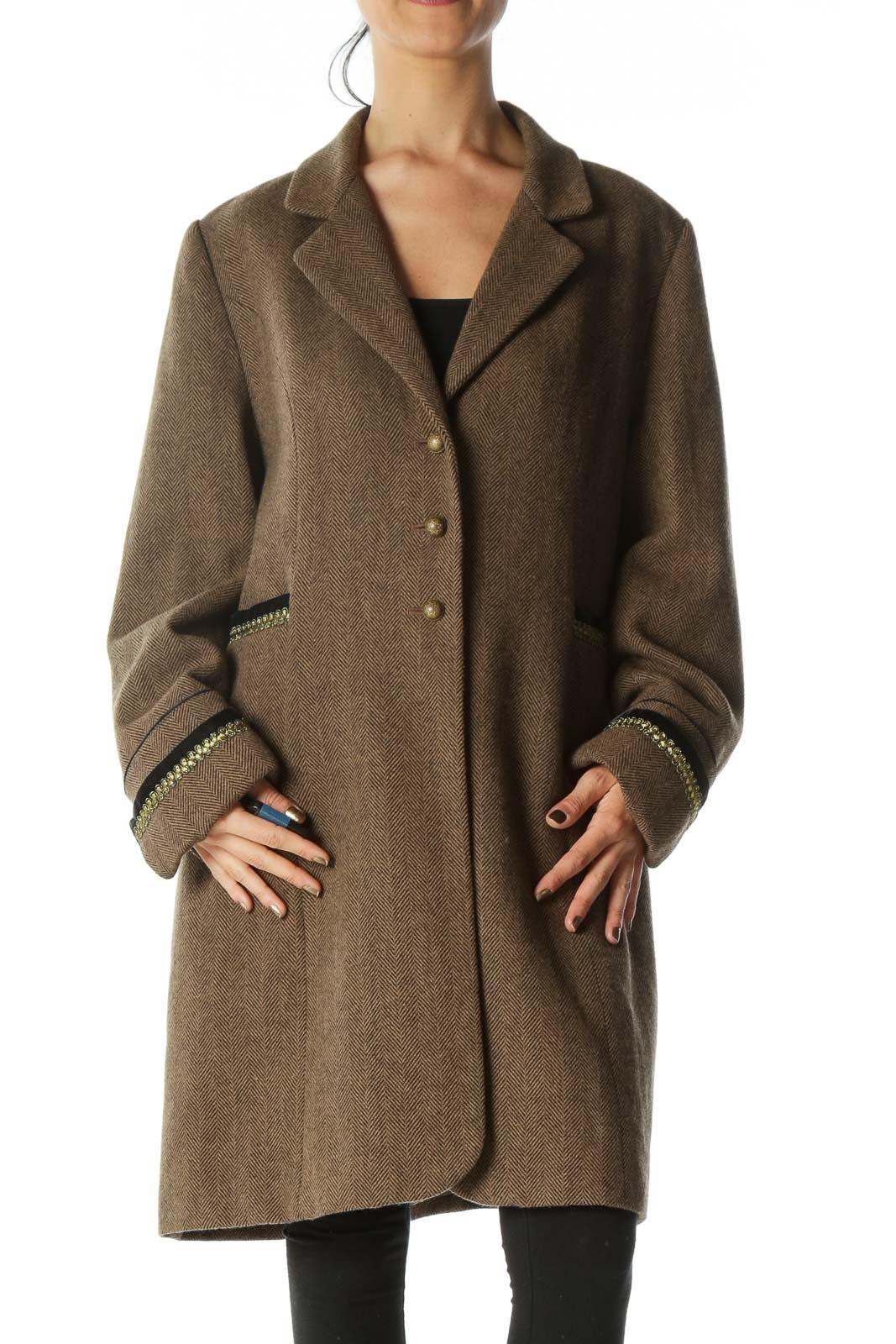 Brown Black Harringbone Metallic and Velvet Accents Coat Front