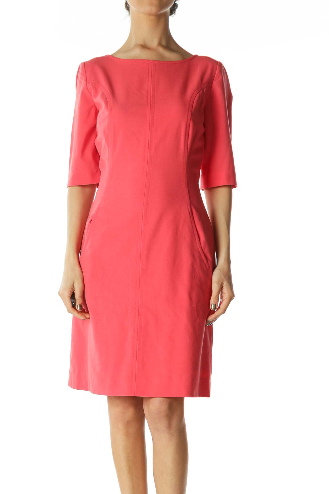 Coral-Pink 3/4-Sleeve Pocketed Work Dress Front