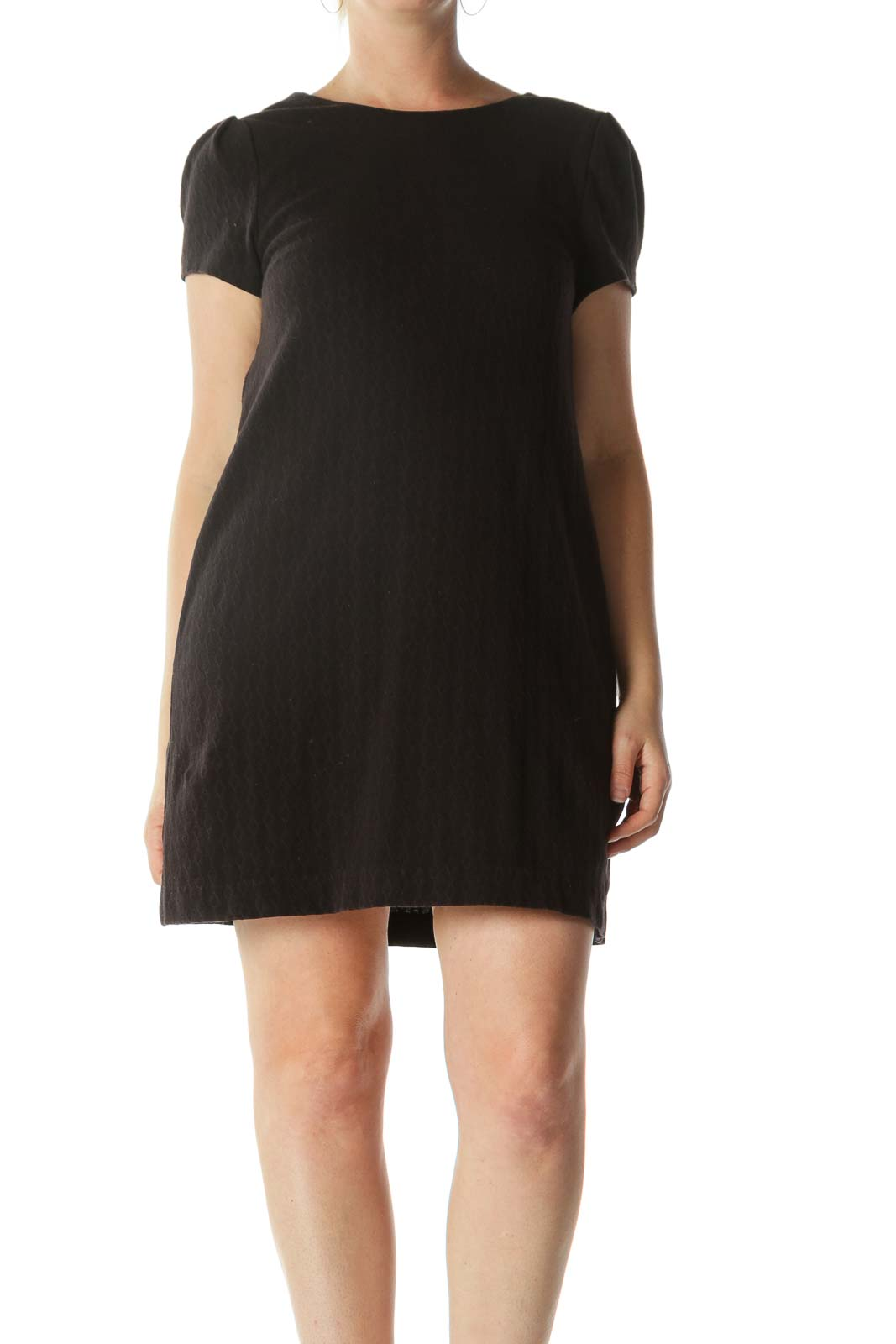Black Textured Short-Sleeve Knit Dress Front