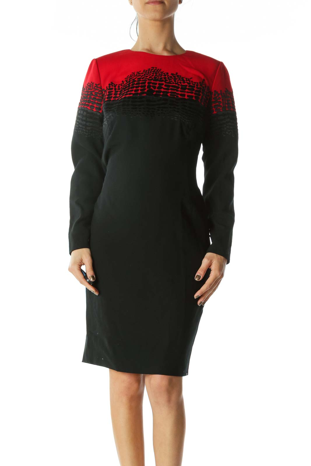 Red Black Long-Sleeve Textured Work Dress Front
