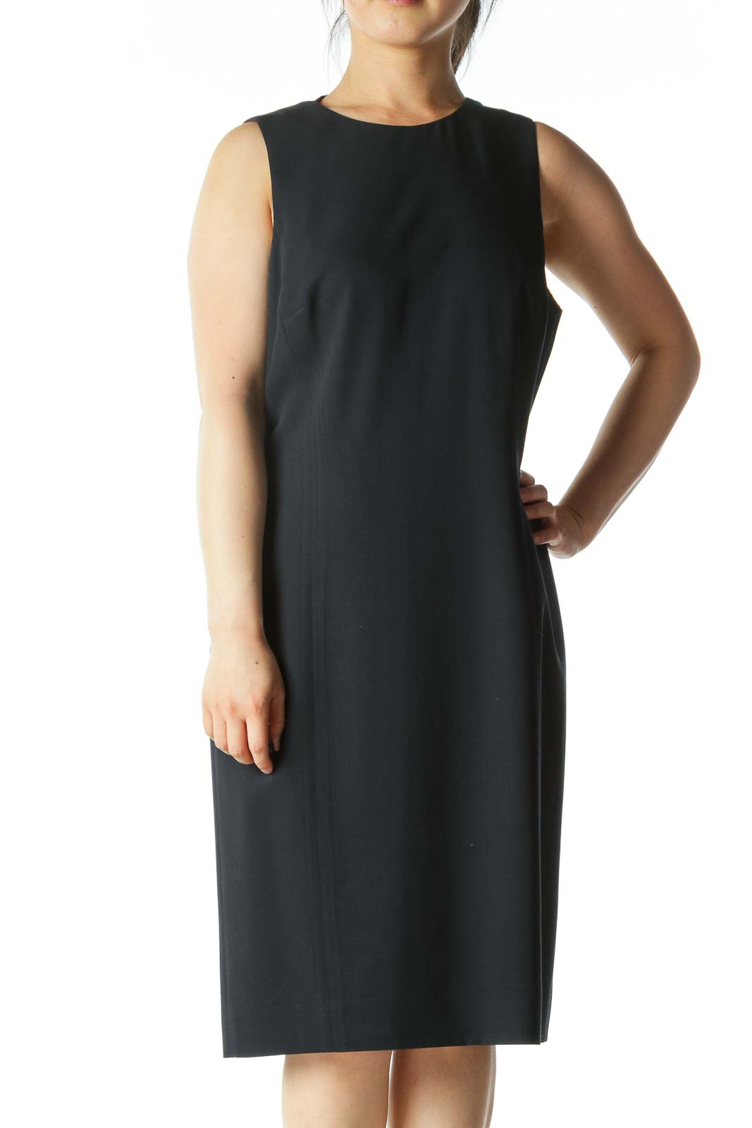 Navy-Blue Round-Neck Sleeveless Work Dress Front