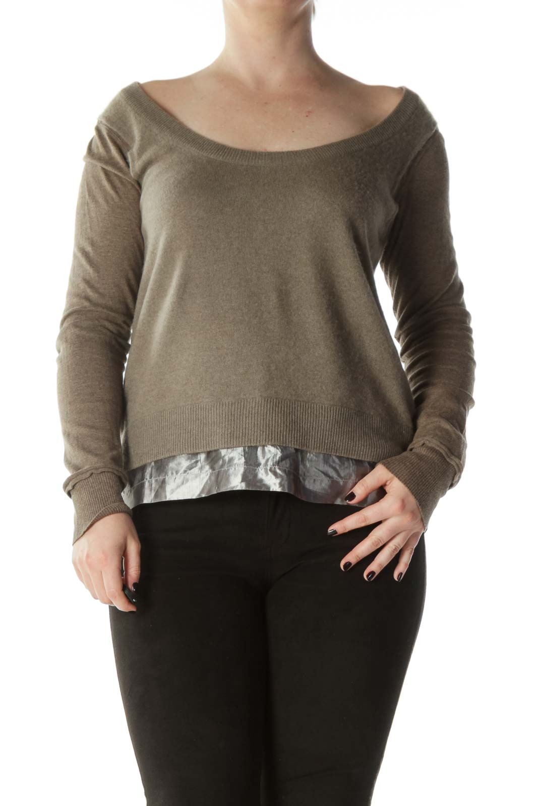 Beige Silver-Trim Cashmere and Cotton Knit Top Front