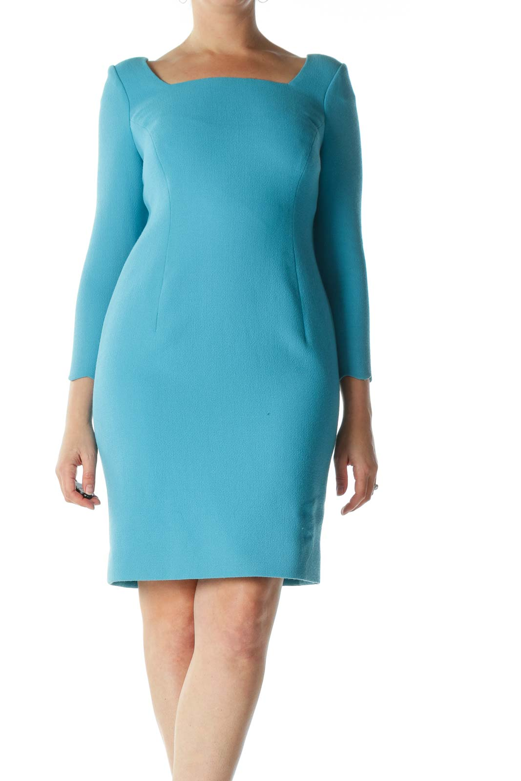 Blue Square-Neck Long-Sleeve Sleeve-Shapes Dress Front