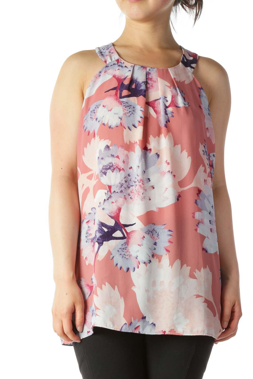 Multi-color Floral Print Pleated Neckline Blouse Front