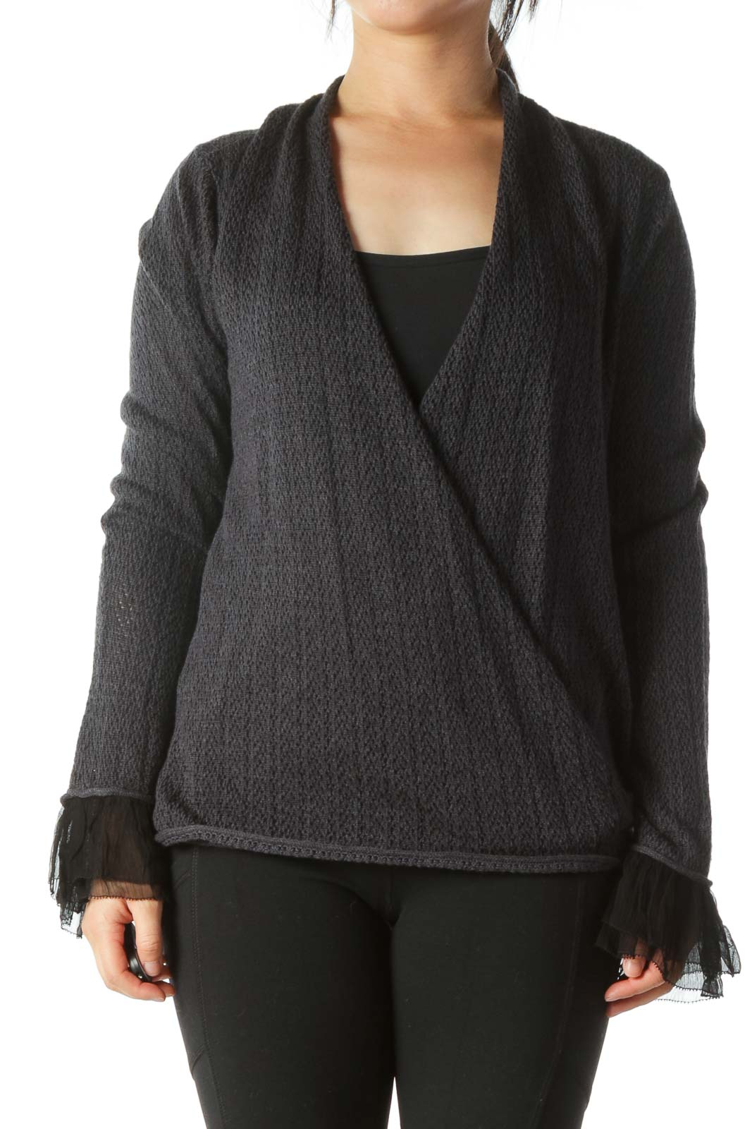 Gray Knitted Wrap Long Sleeve Top Front