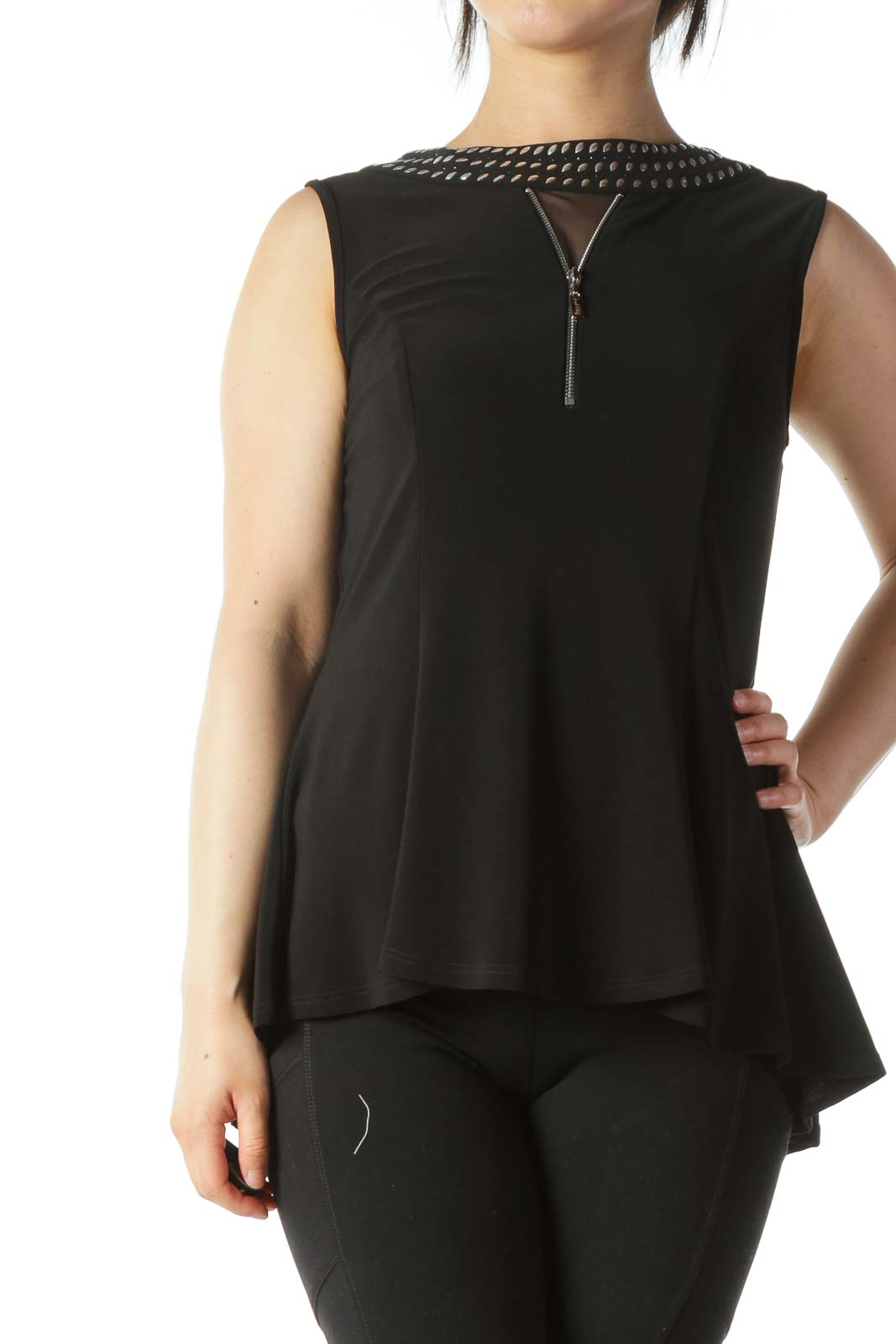 Black Studded and Zipper Detail Neckline A-Line Top Front