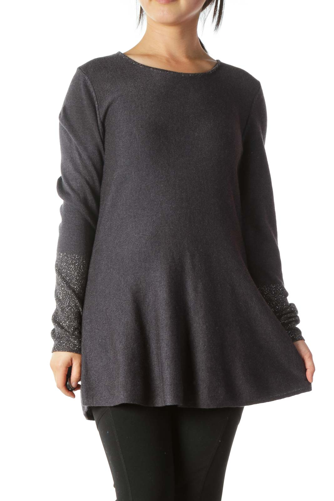 Gray Silver-Threading-Accents A-Line Knit Top Front