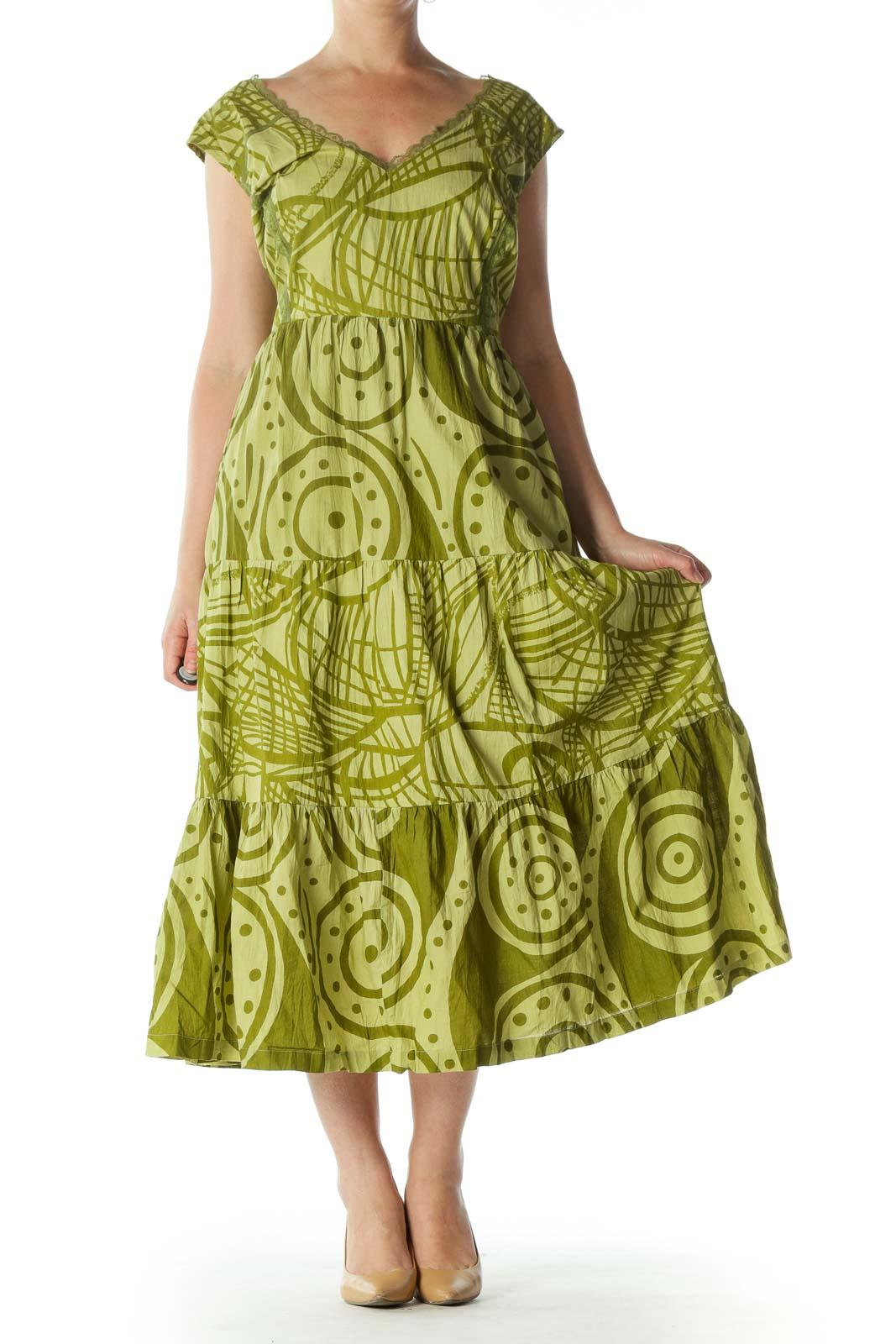 Green Sleeveless Maxi Dress  Front