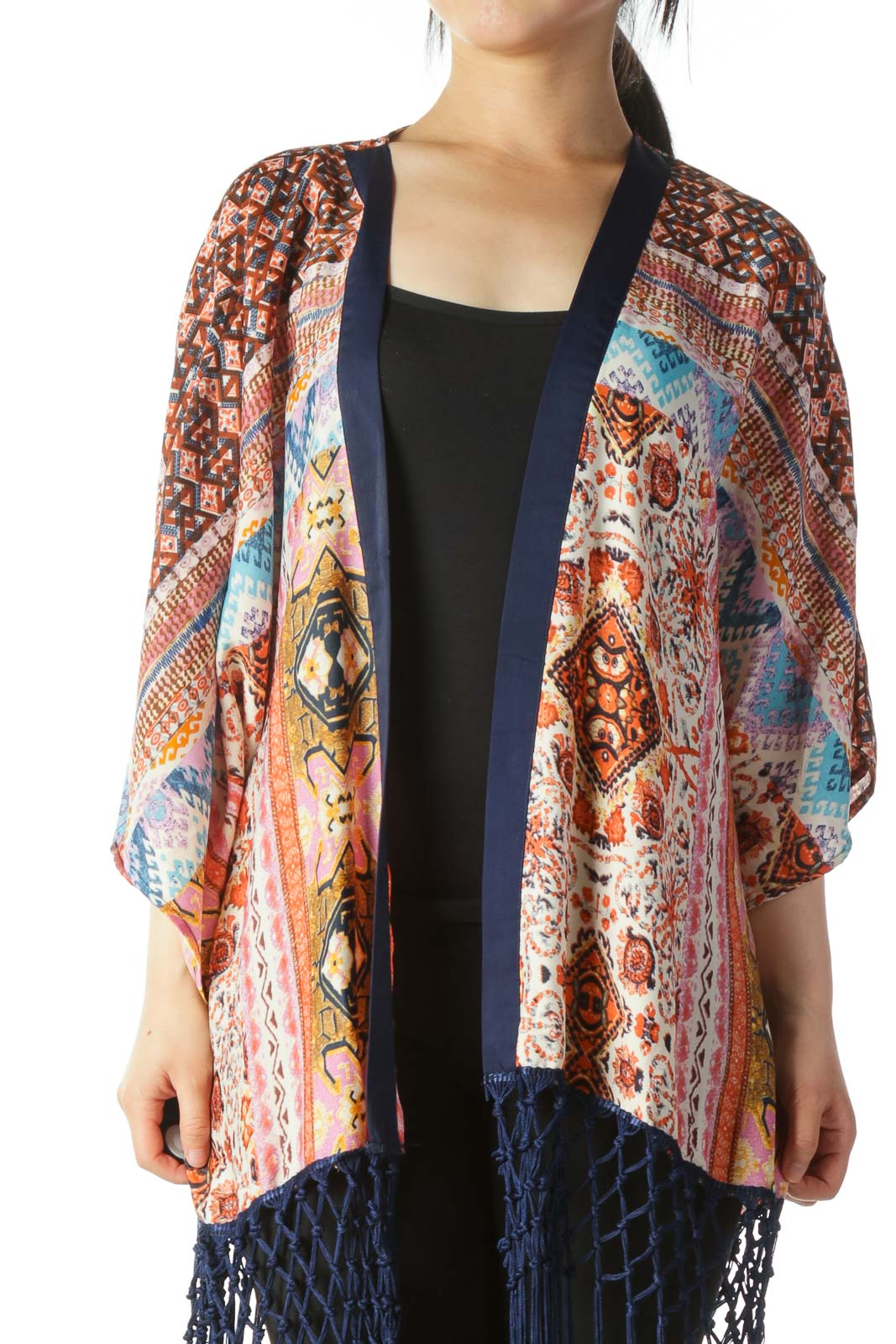 Multicolor Print Light-Weight Cardigan with Tassels Front