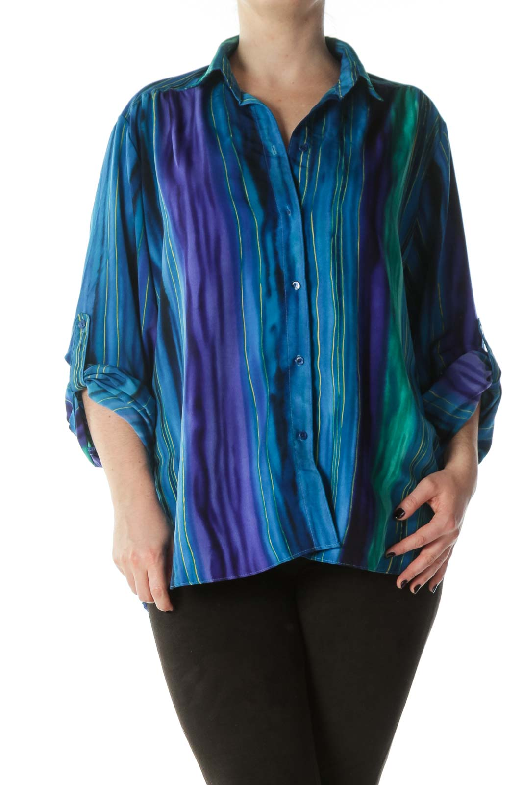 Multicolored Striped Buttoned Shirt Front