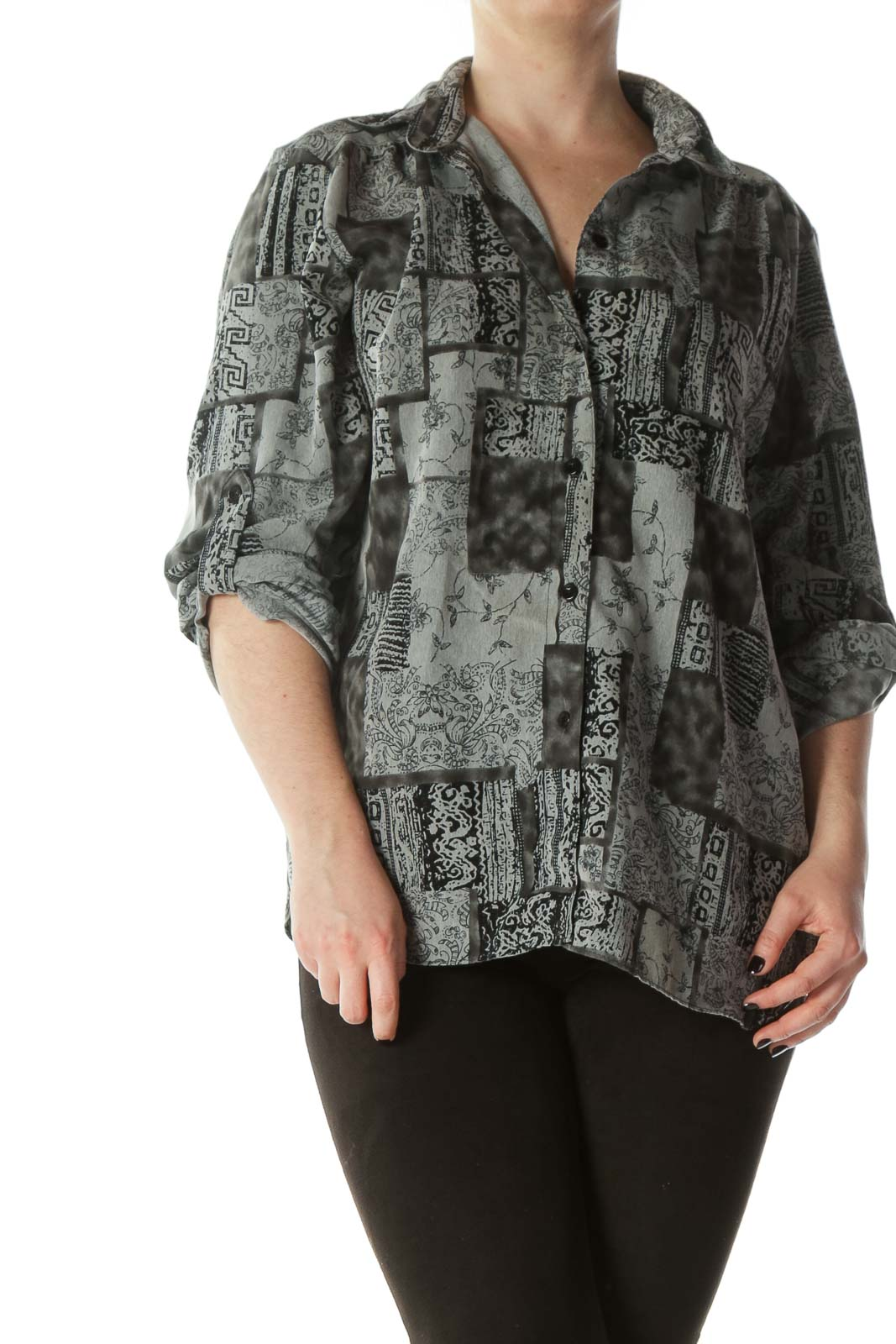 Black Gray Buttoned Printed Shirt Front