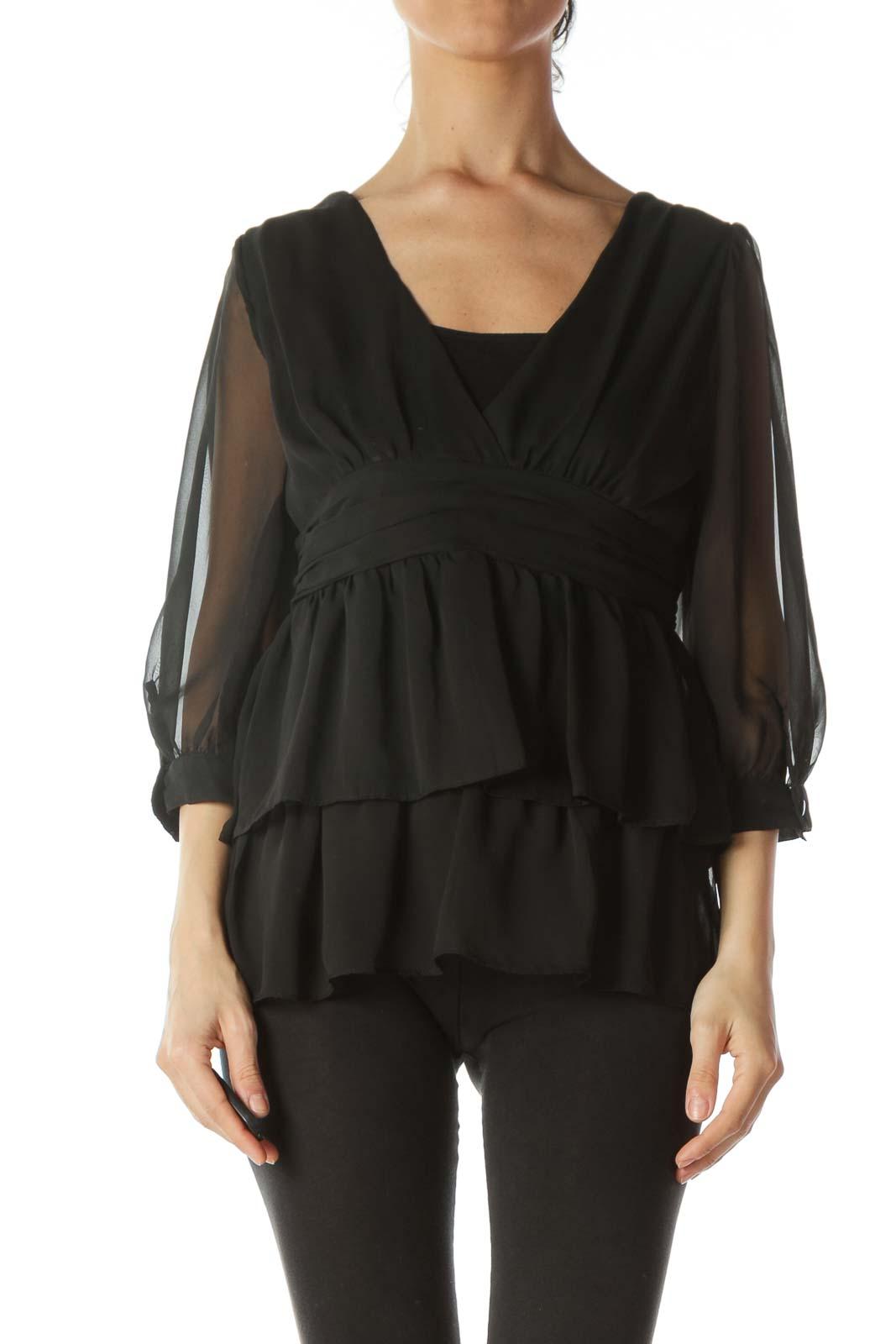 Black Chiffon See-Through Long-Sleeve Blouse Front