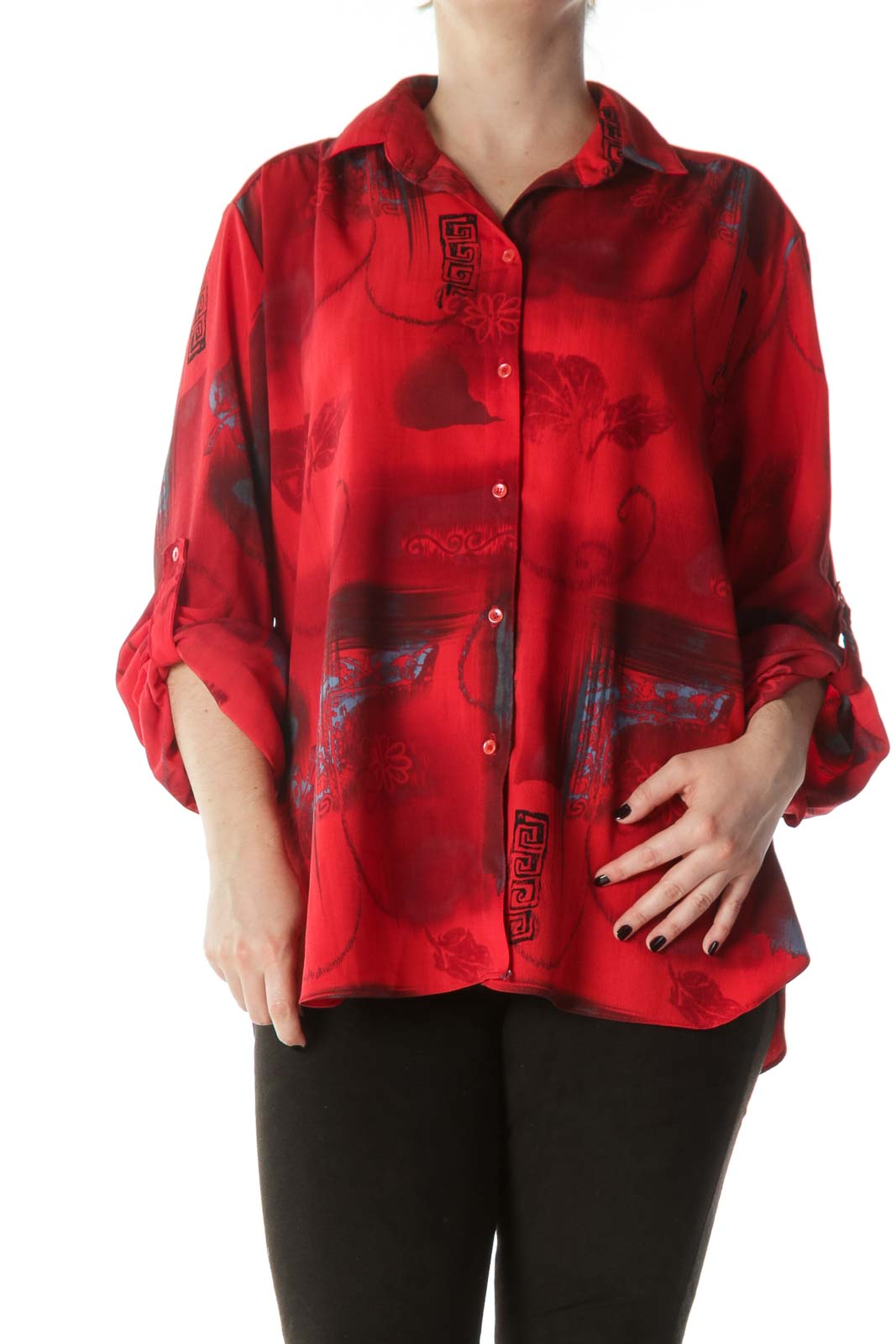 Red Black Blue Printed Light-Weight Shirt Front