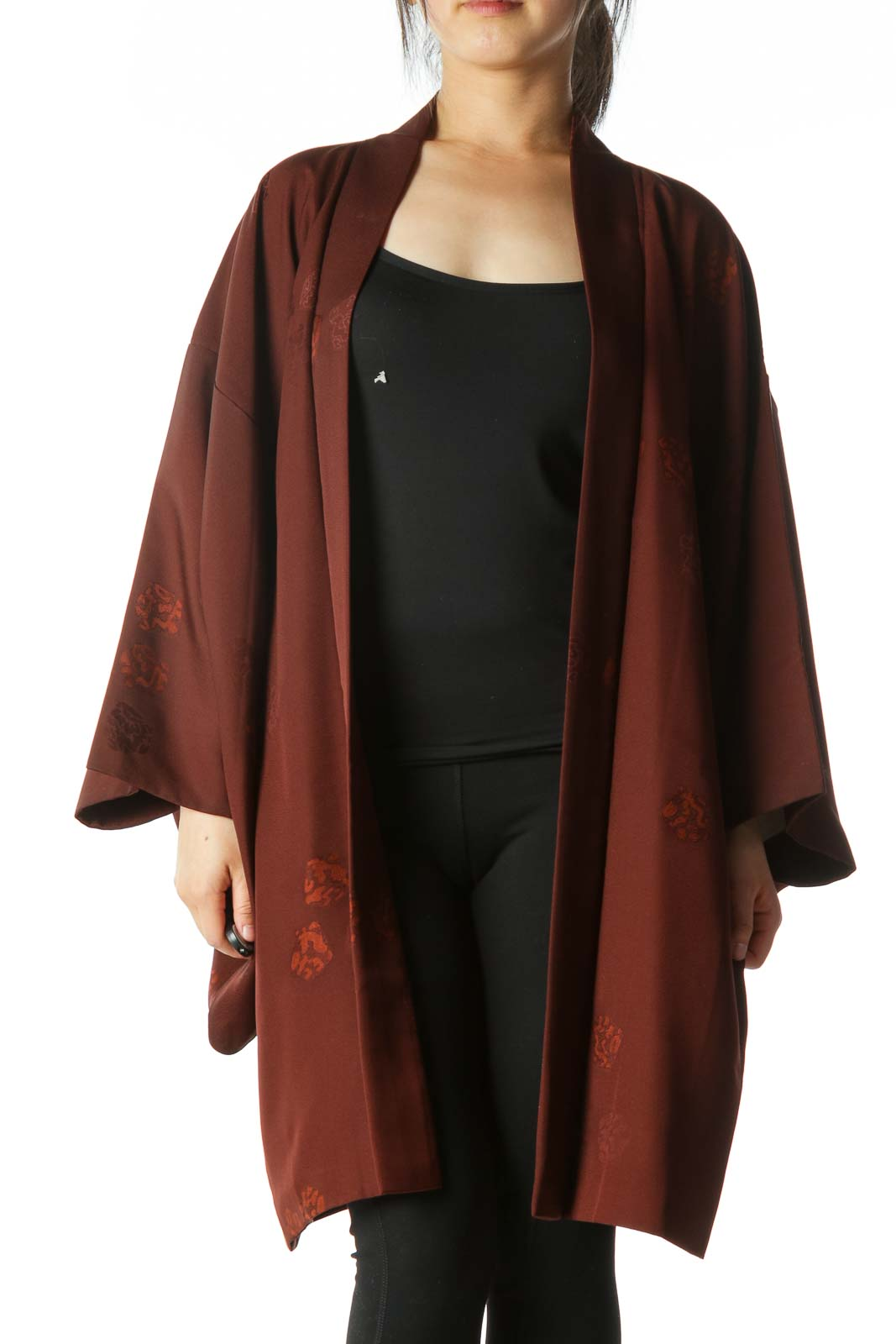 Brown Jacquard Arm-Opening Square-Sleeves Cape Front