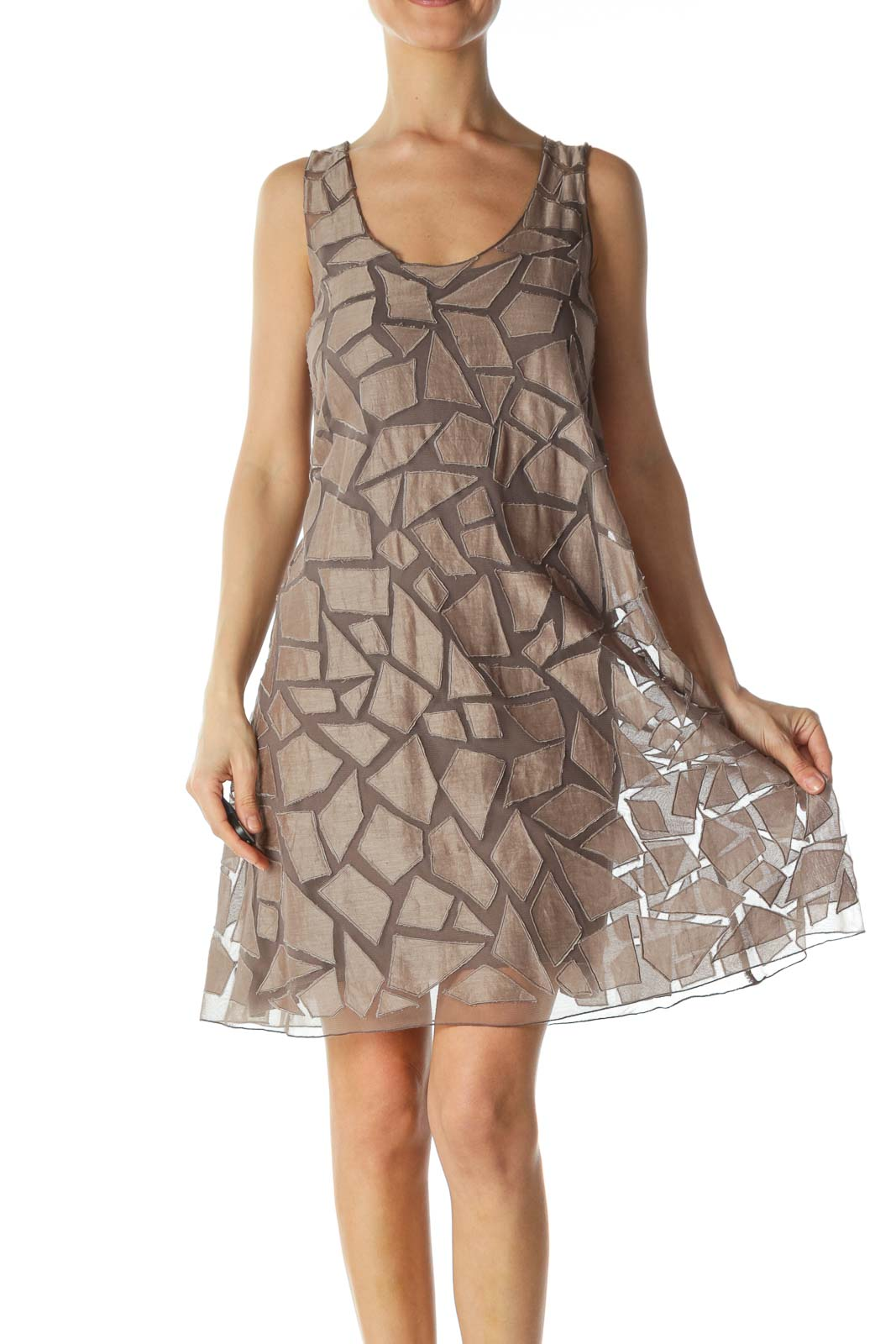 Gray Patterned Tent Dress  Front