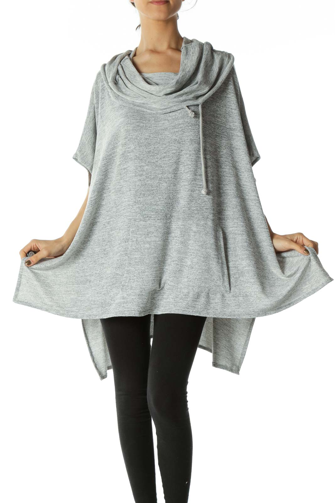 Gray Cow Neck Poncho  Front