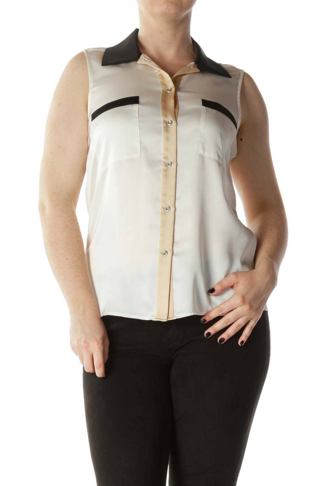 Cream Beige and Black Sleeveless Collared Button-Down Front