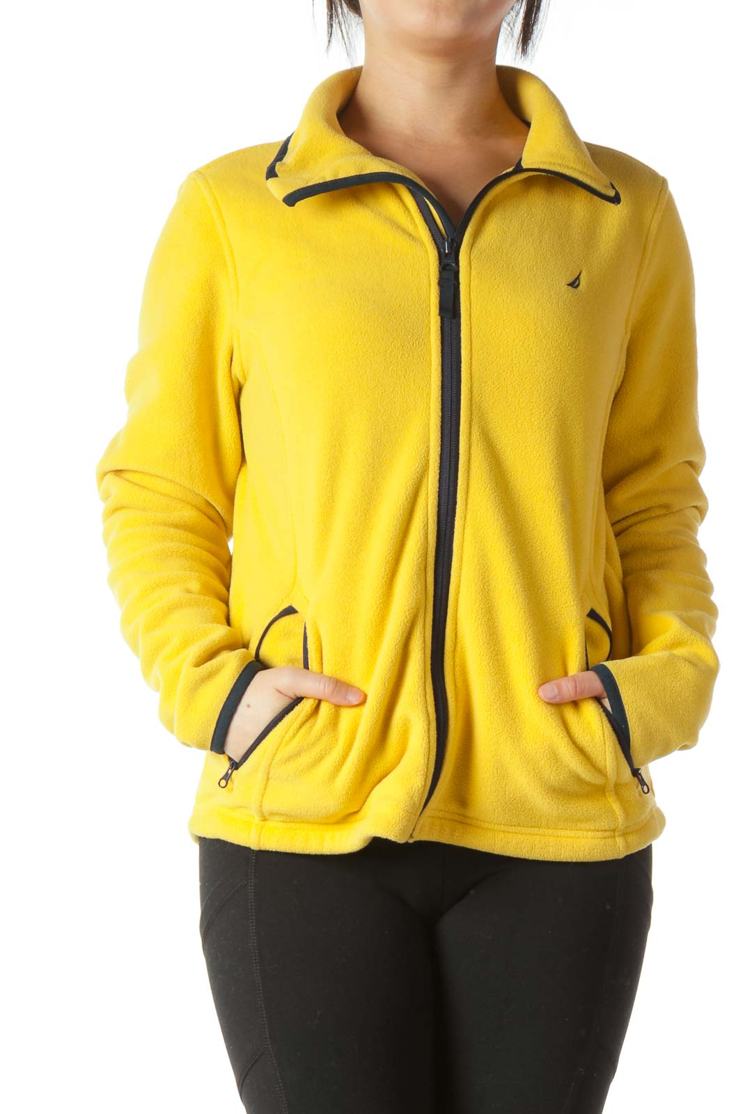 Yellow Navy Blue Piping Zippered High Neck Sports Jacket Front