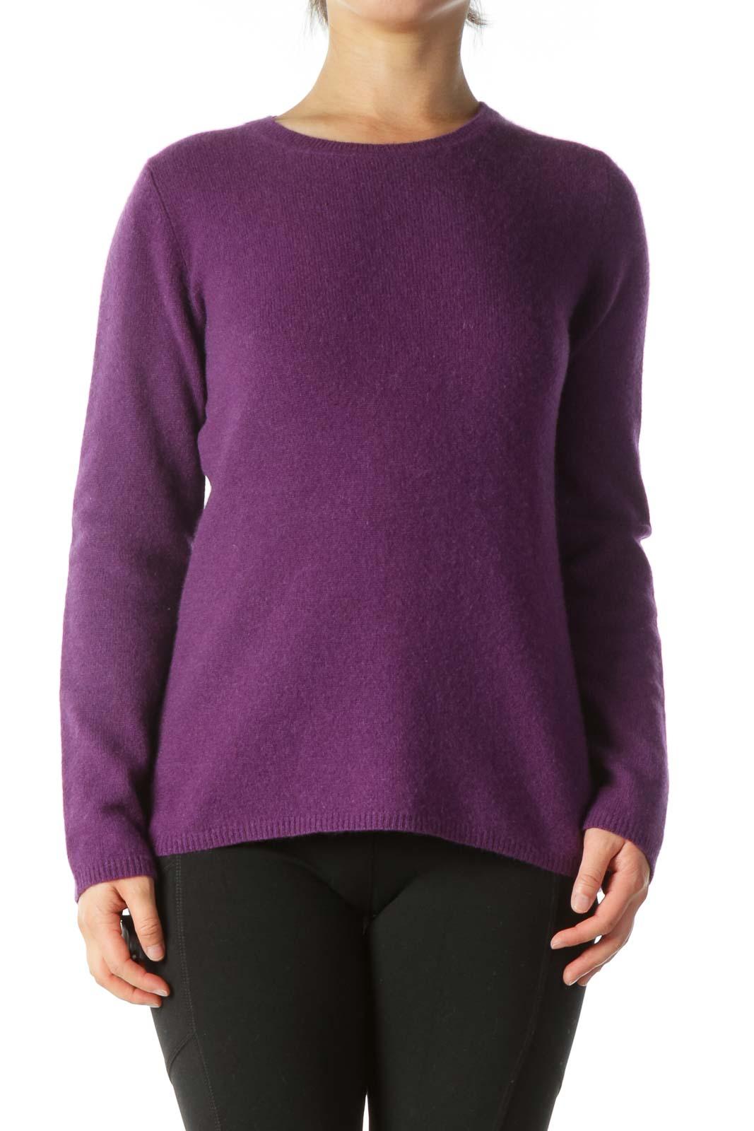 Purple Round-Neck Soft Textured Sweater Front