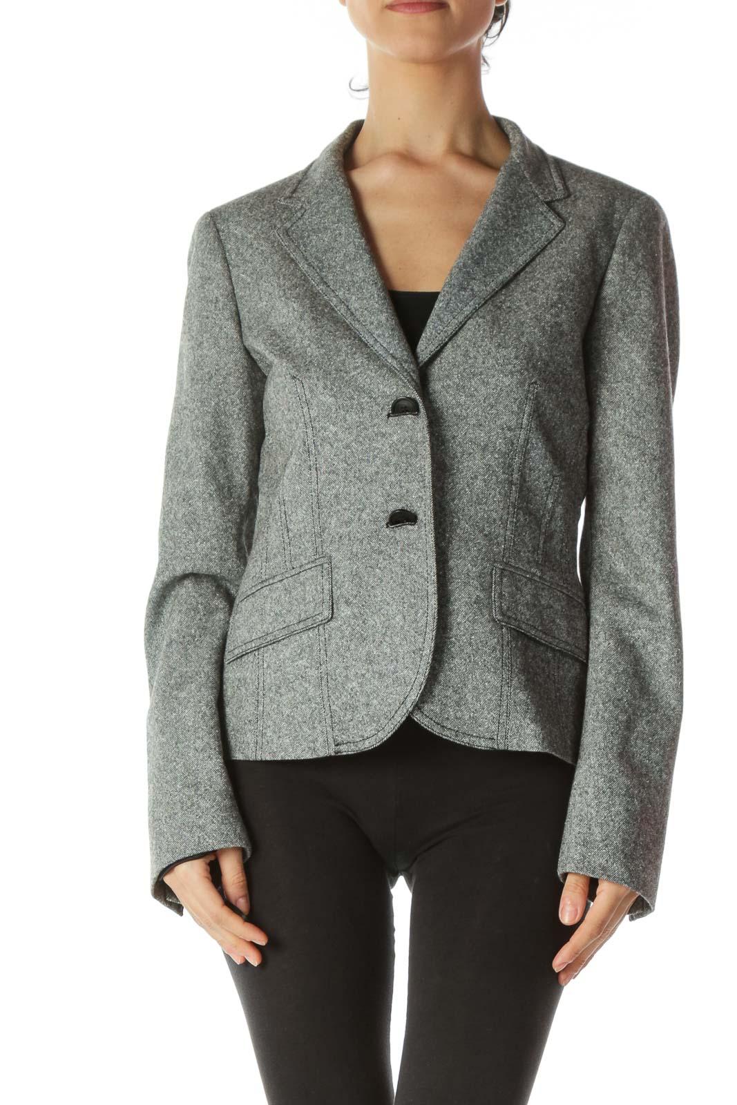 Black White Birdseye Knit Buttoned Blazer Front