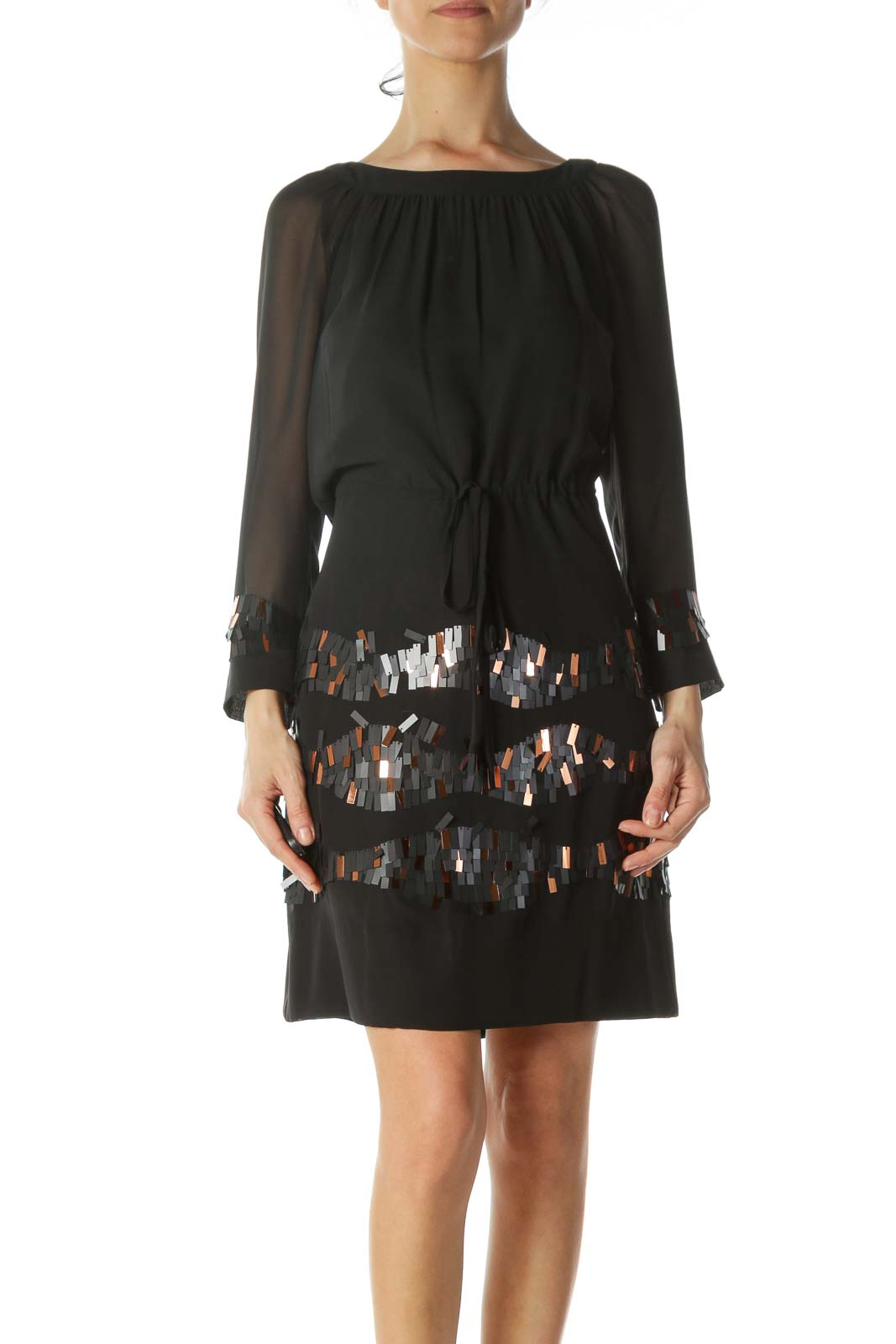 Black Sequined-Accents Drawstring-Waist Dress Front