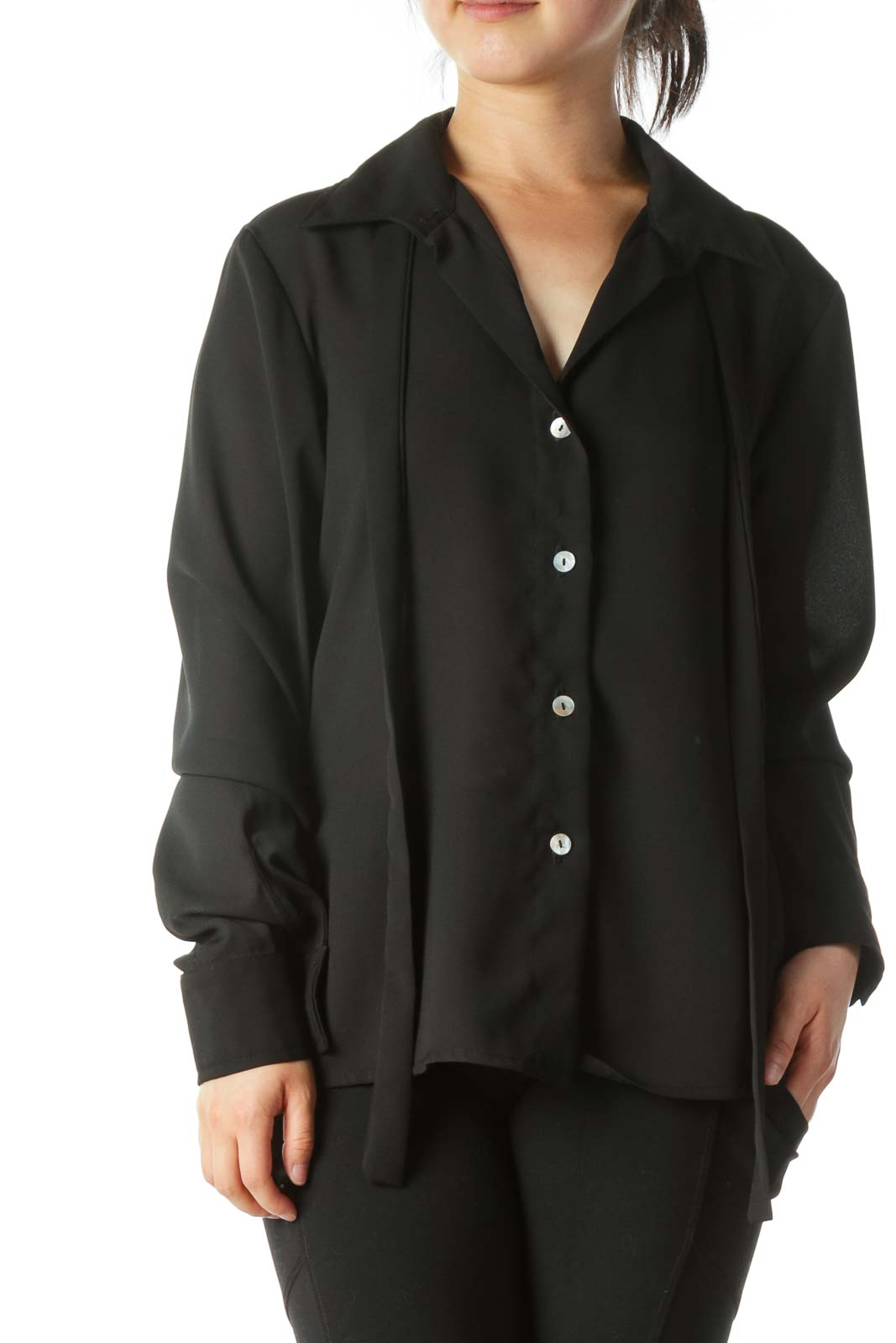 Black Buttoned Long-Sleeve Shirt Front