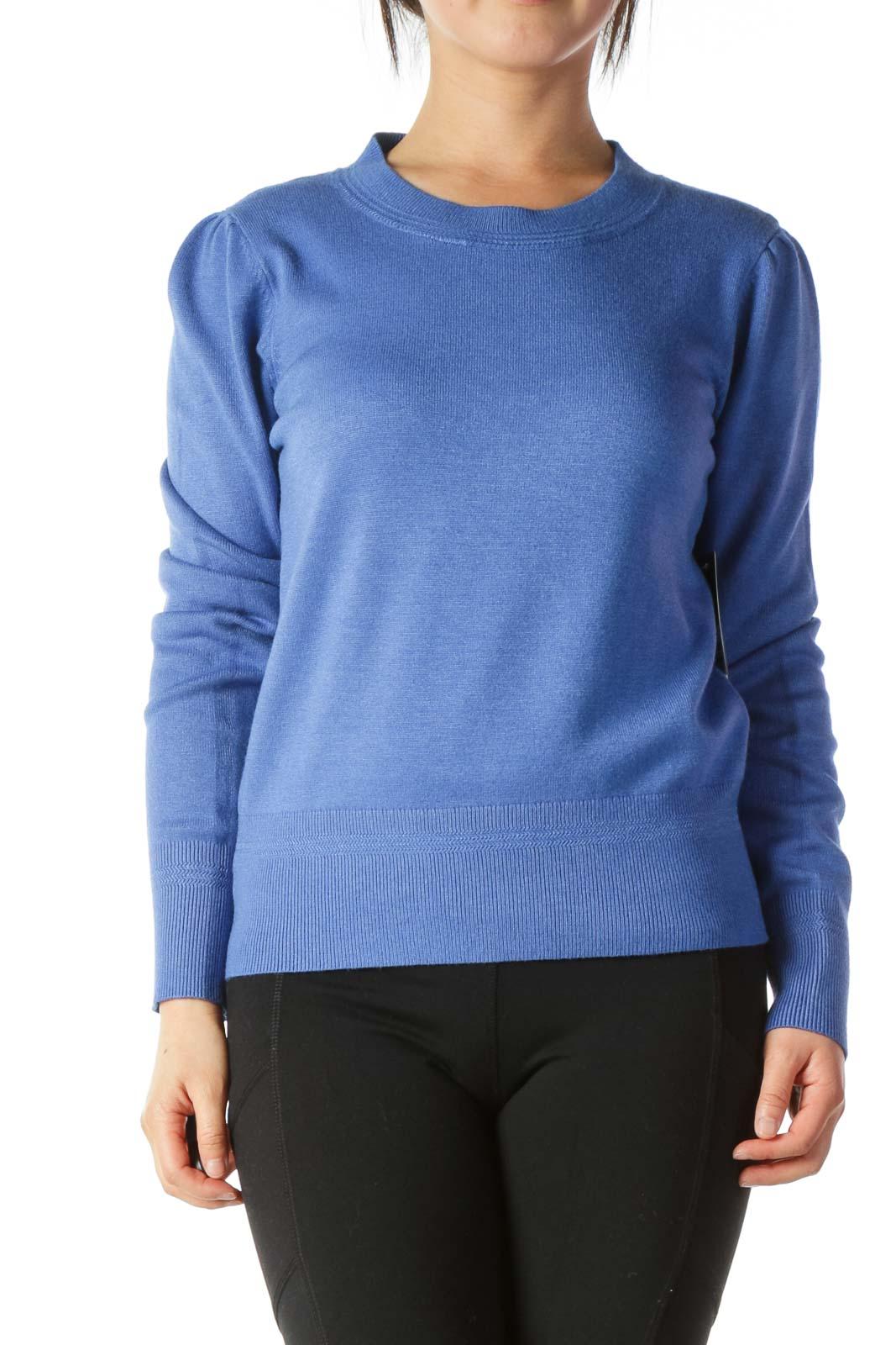 Blue Round-Neck Scrunched-Shoulder Detail Soft Sweater Front