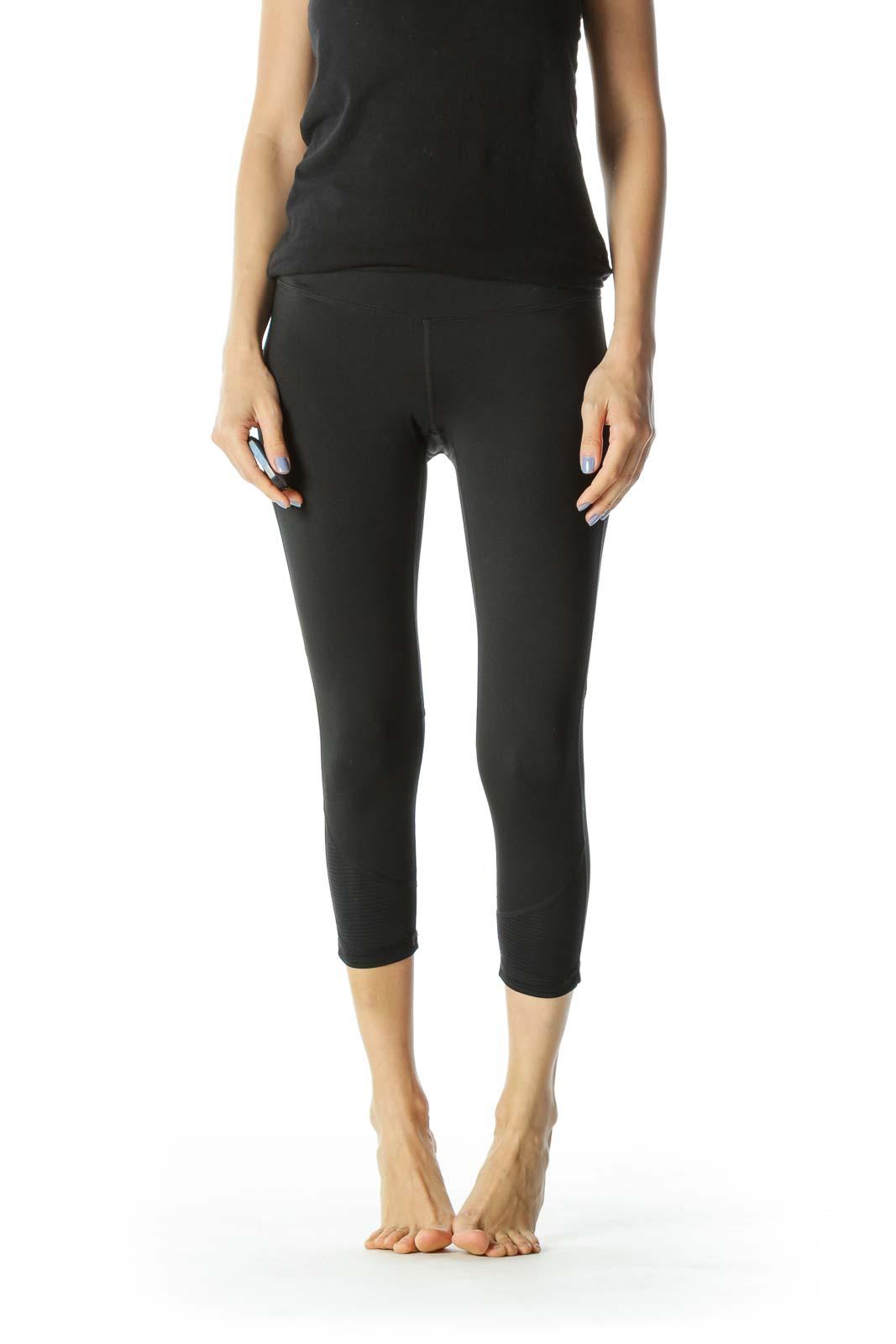 Black Stretch Sheer Leg Detail Activewear Leggings Front