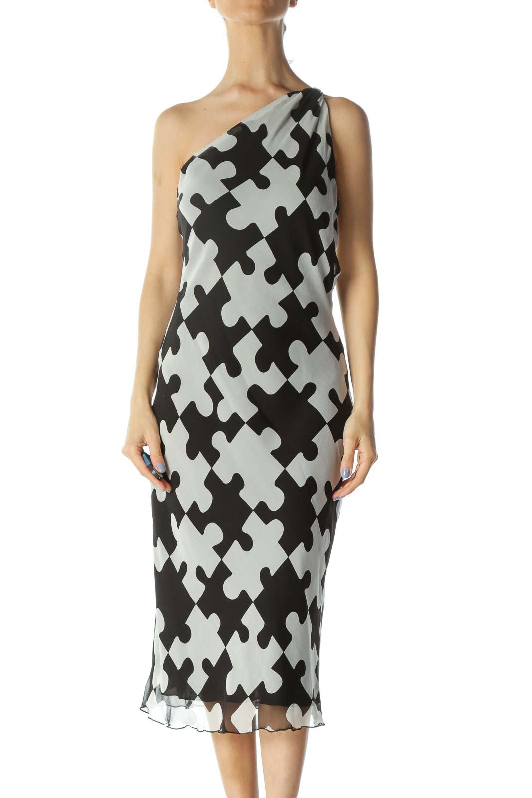 Black/White 100% Silk Puzzle-Print Knot-Detail Light Dress Front