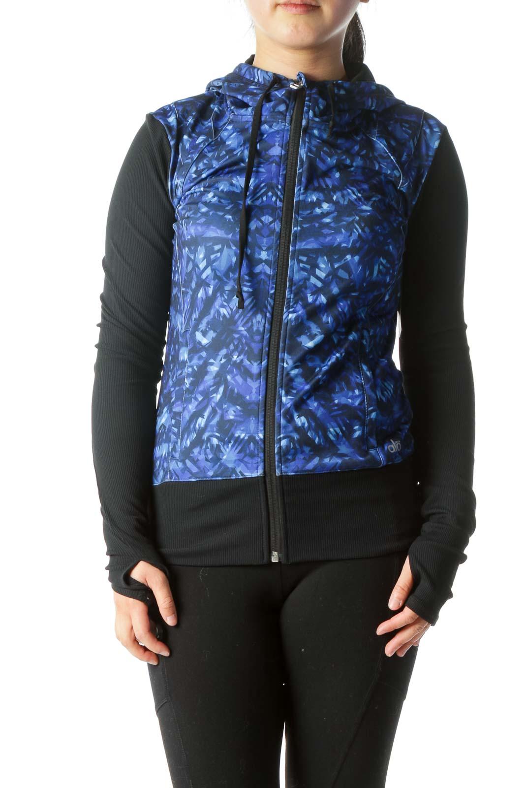 Blue Black Hooded Sport Jacket Front