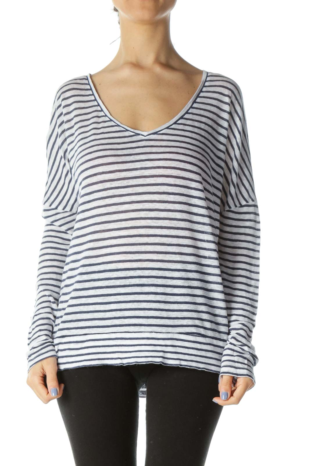 Blue/White 100% Linen V-Neck Striped Flared Knit Top Front