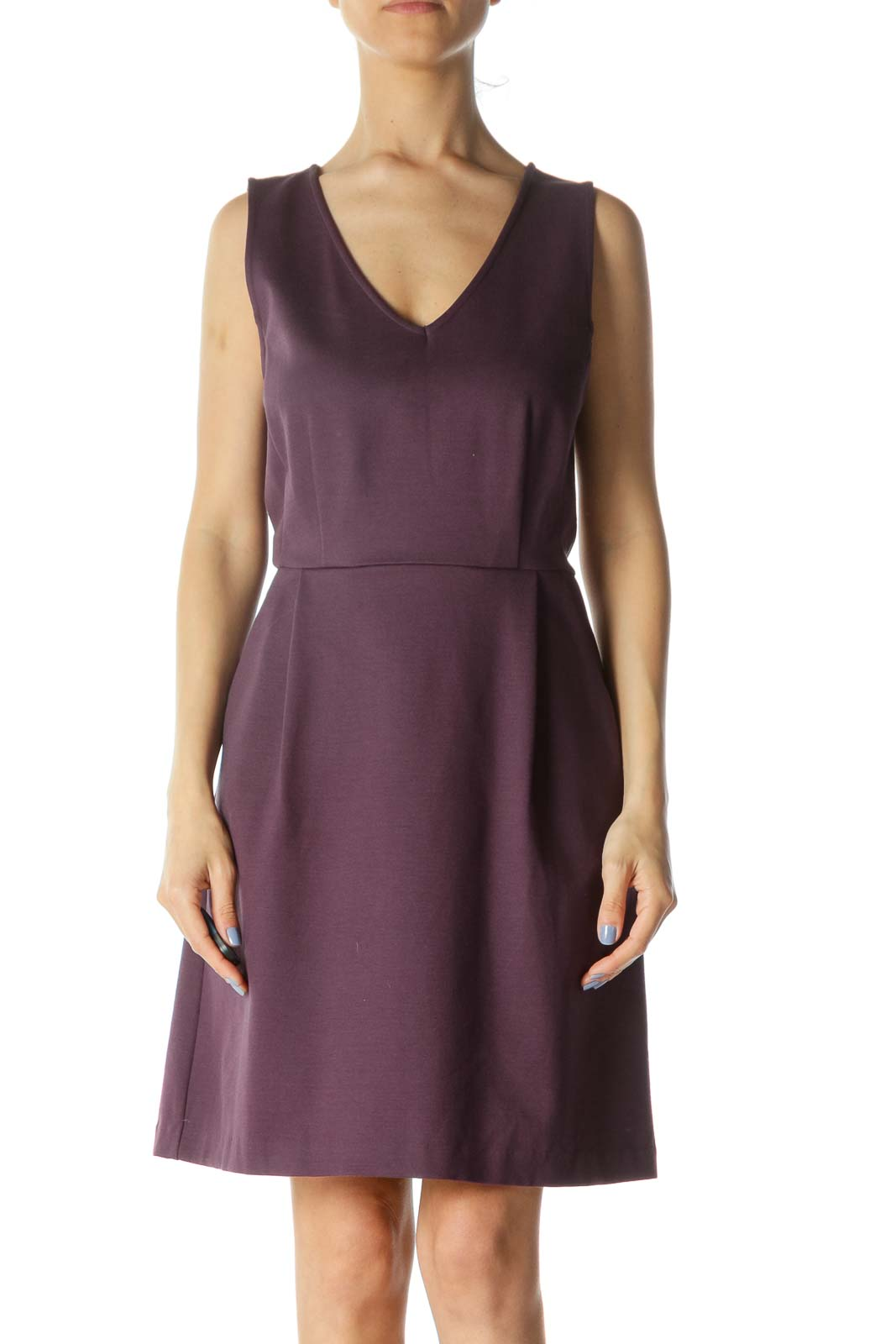 Purple V-Neck Sleeveless Pocketed A-Line Dress Front