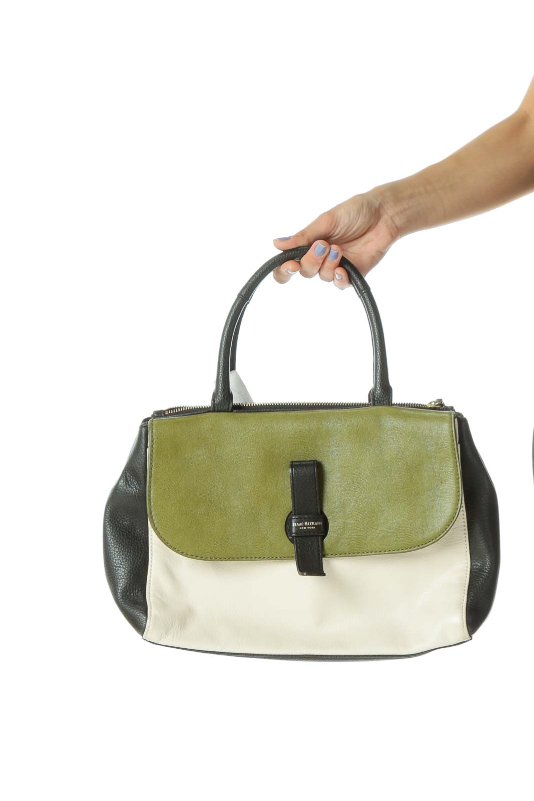 Green/Black/Cream Gold Hardware Satchel Front