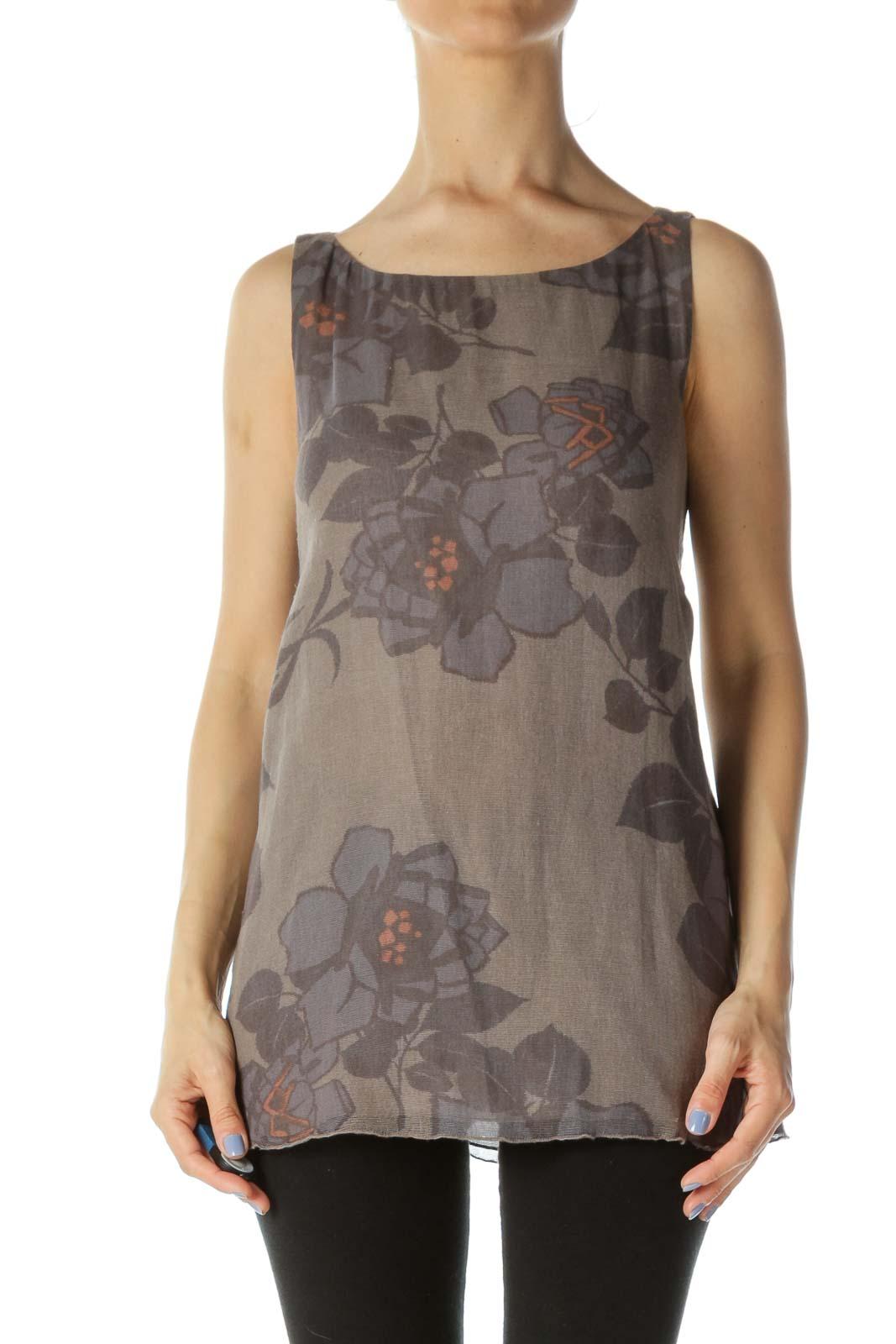 Gray/Blue/Beige 100% Cotton Sleeveless Flower-Print Knit Top Front
