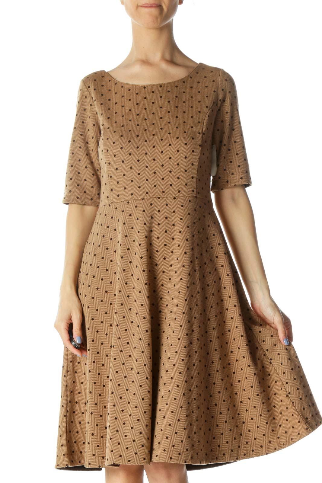 Brown Herringbone 3/4-Sleeve Textured Skater Dress Front