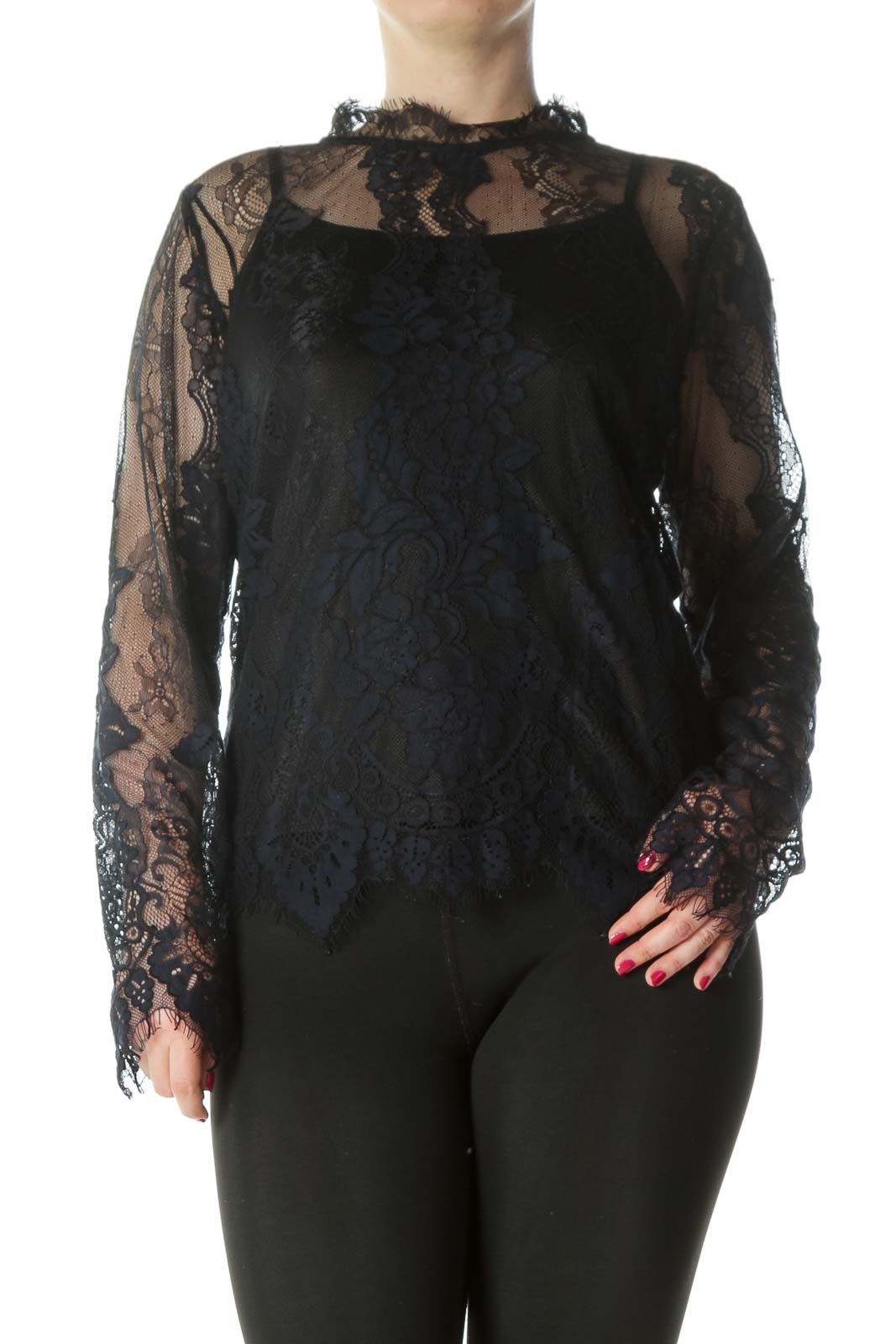Black Navy Lace Blouse Top Front
