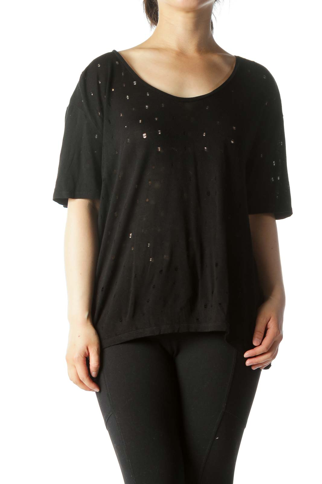 Black Cut-Outs See Through T-Shirt Front