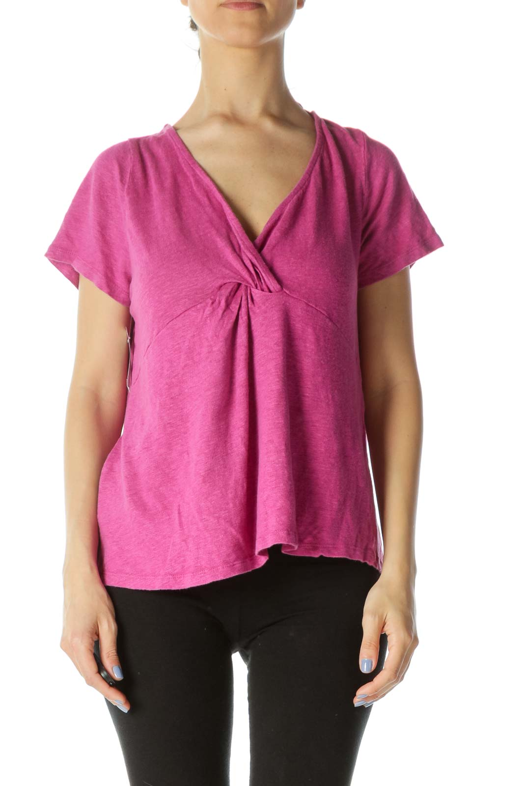 Magenta Pink 100% Linen Short-Sleeve Knot Detail Knit Top Front