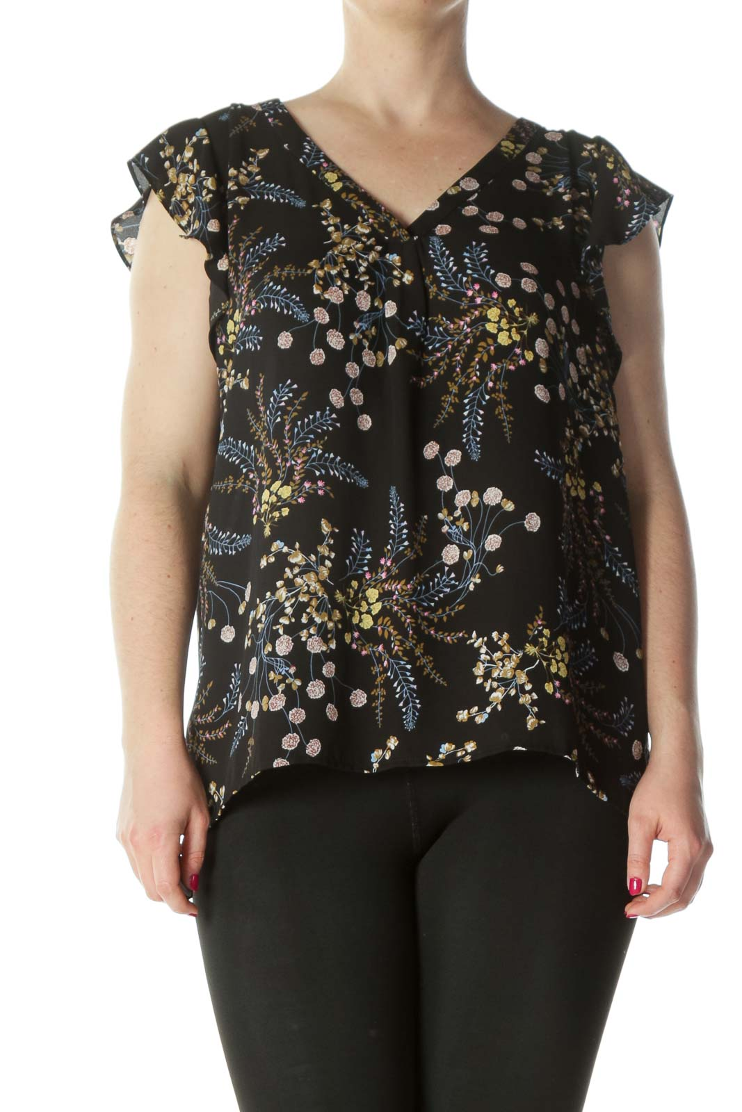 Black Multi Floral Ruffled Sleeveless Blouse Front
