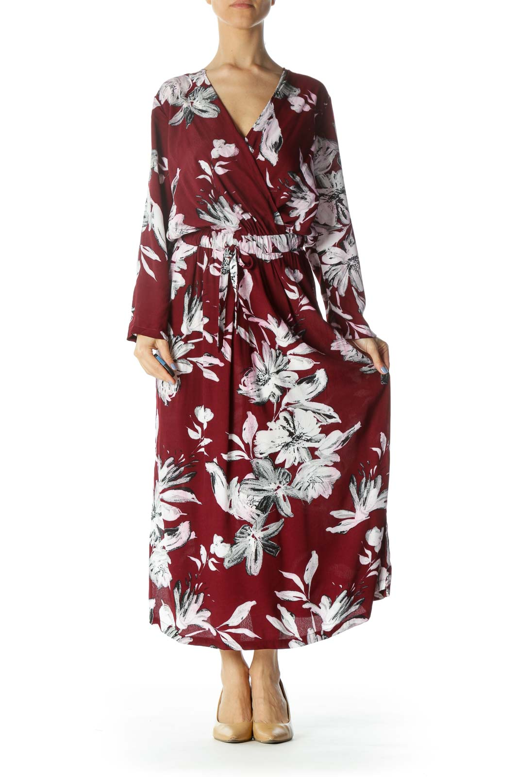 Burgundy/White/Black Flower-Print Pocketed Dress with Back String-Tie Front