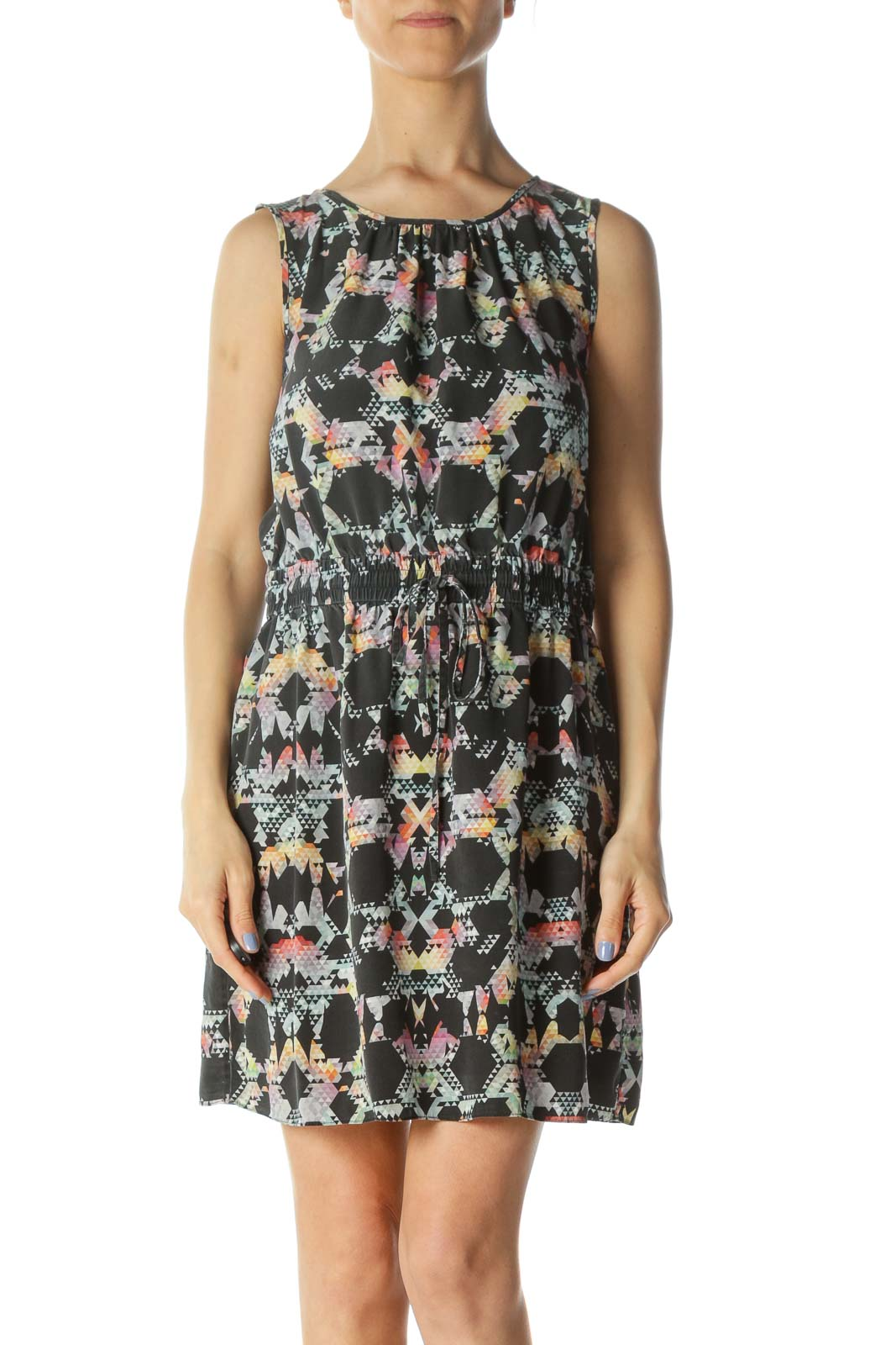Gray/Multicolored 100% Silk Geometric-Print Day Dress Front