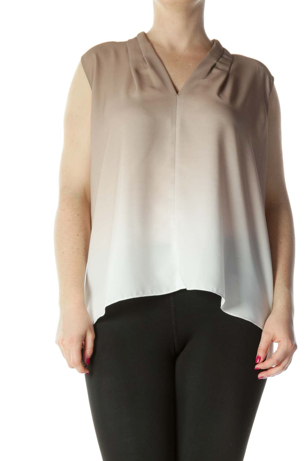 Brown White Layered Color Blouse Front
