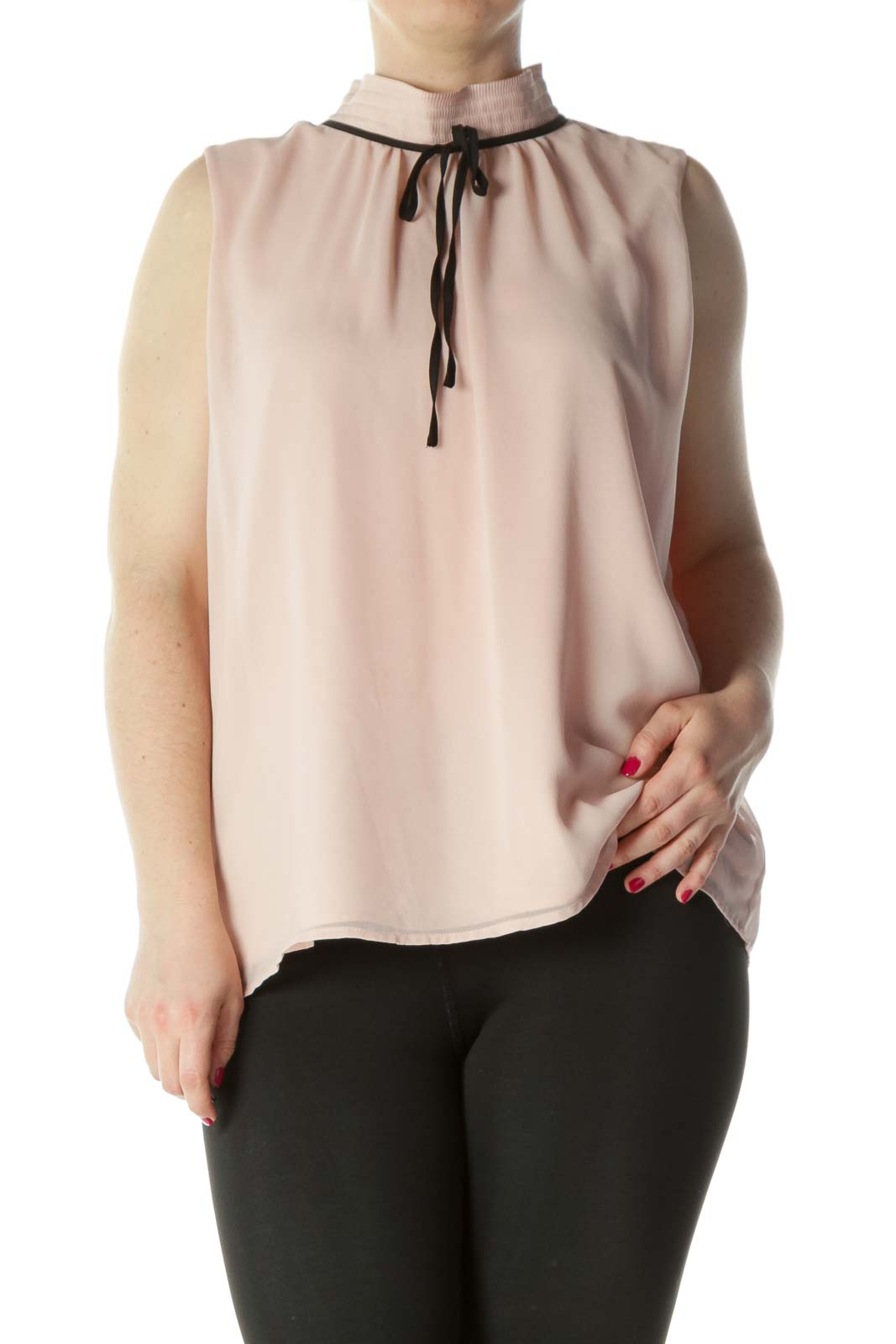 Peachy Pink Mock Neck Sleeveless Blouse Front