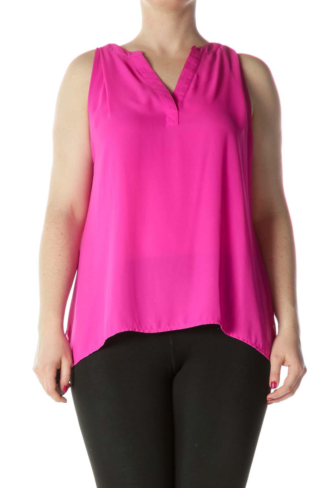 Bright Pink V-neck Blouse Front