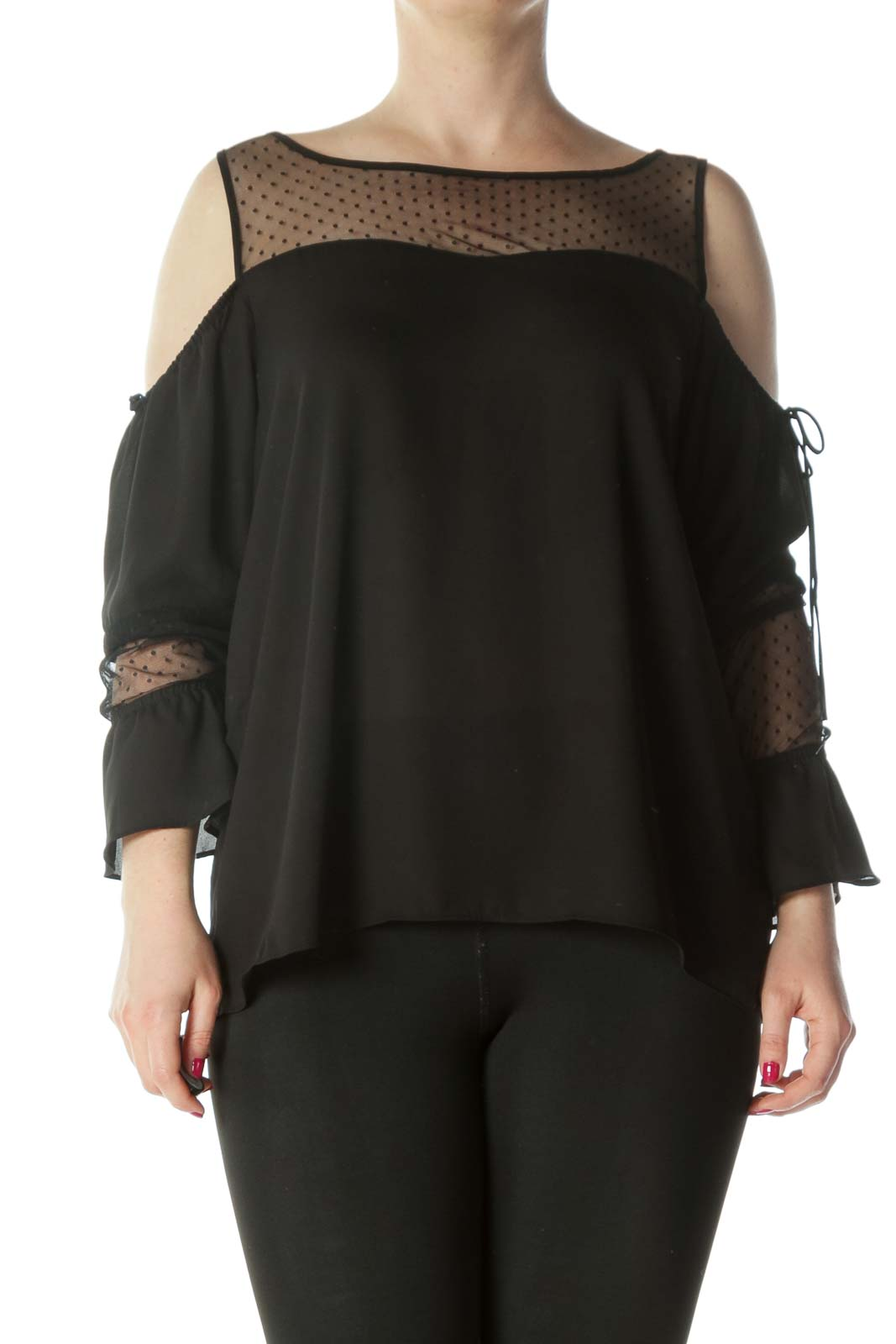 Black Cold-Shoulder See-Through Polka-Dot Long-Sleeve Blouse Front
