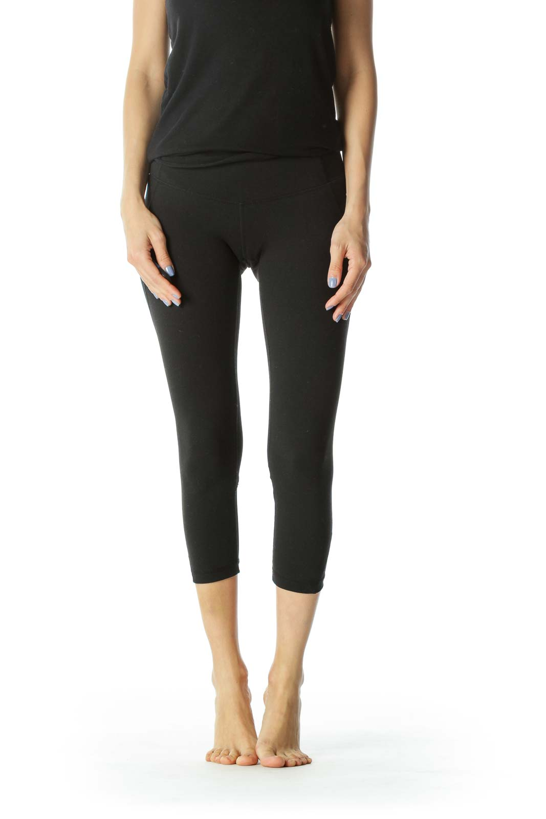 Black Cropped Activewear Mesh Detail Leggings Front