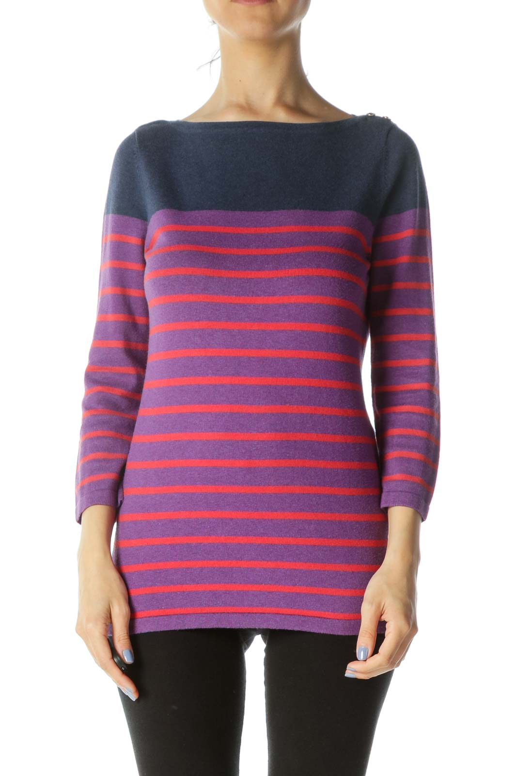 Blue/Purple/Red Boat-Neck Two-Button Striped Sweater Front